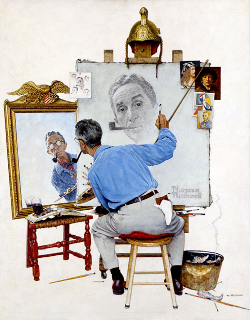 N.Rockwell's Triple Self Portrait | Drawing Faces at VanillaArts.com