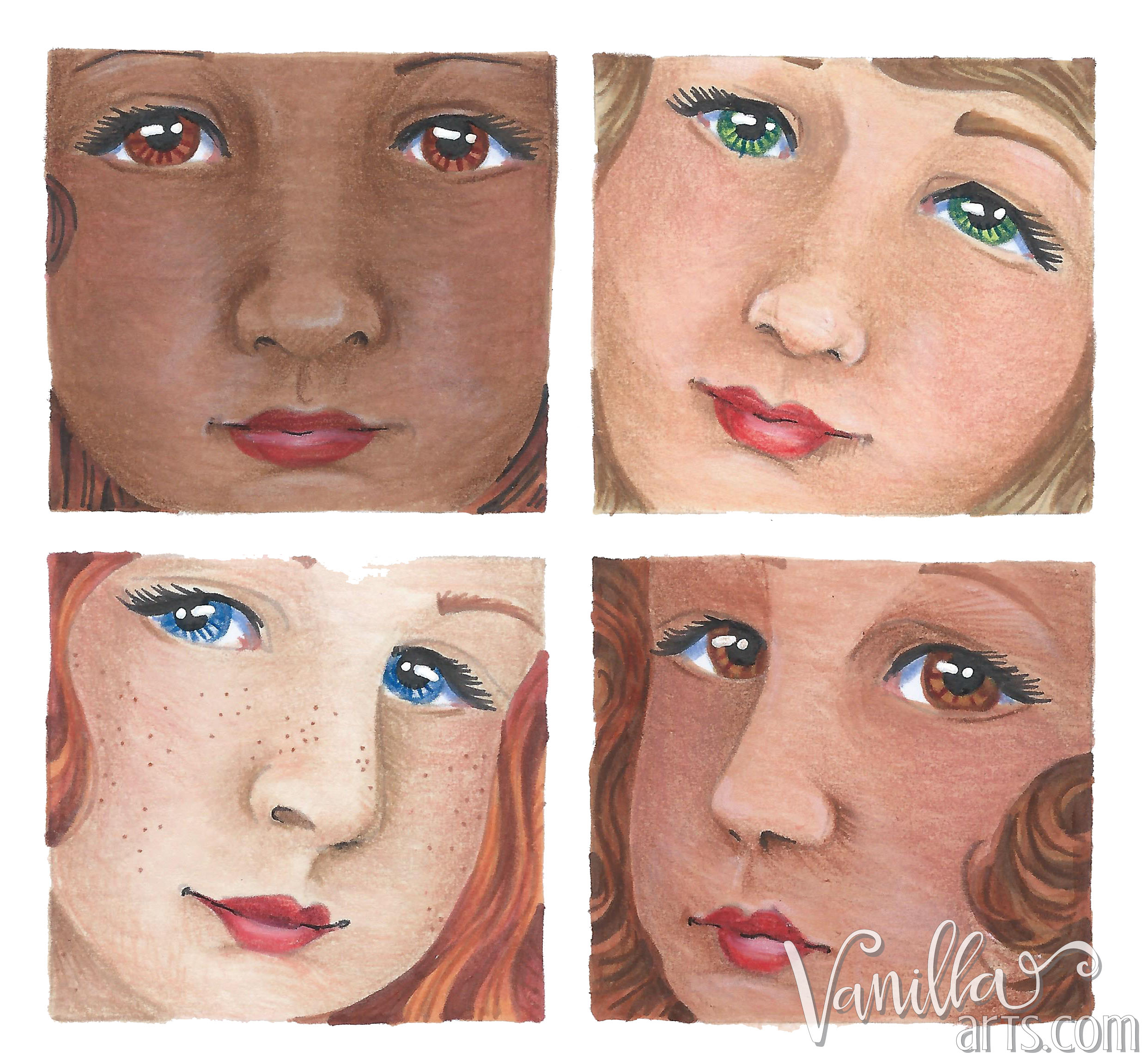 Four Little Girls coloring by VanillaArts.com