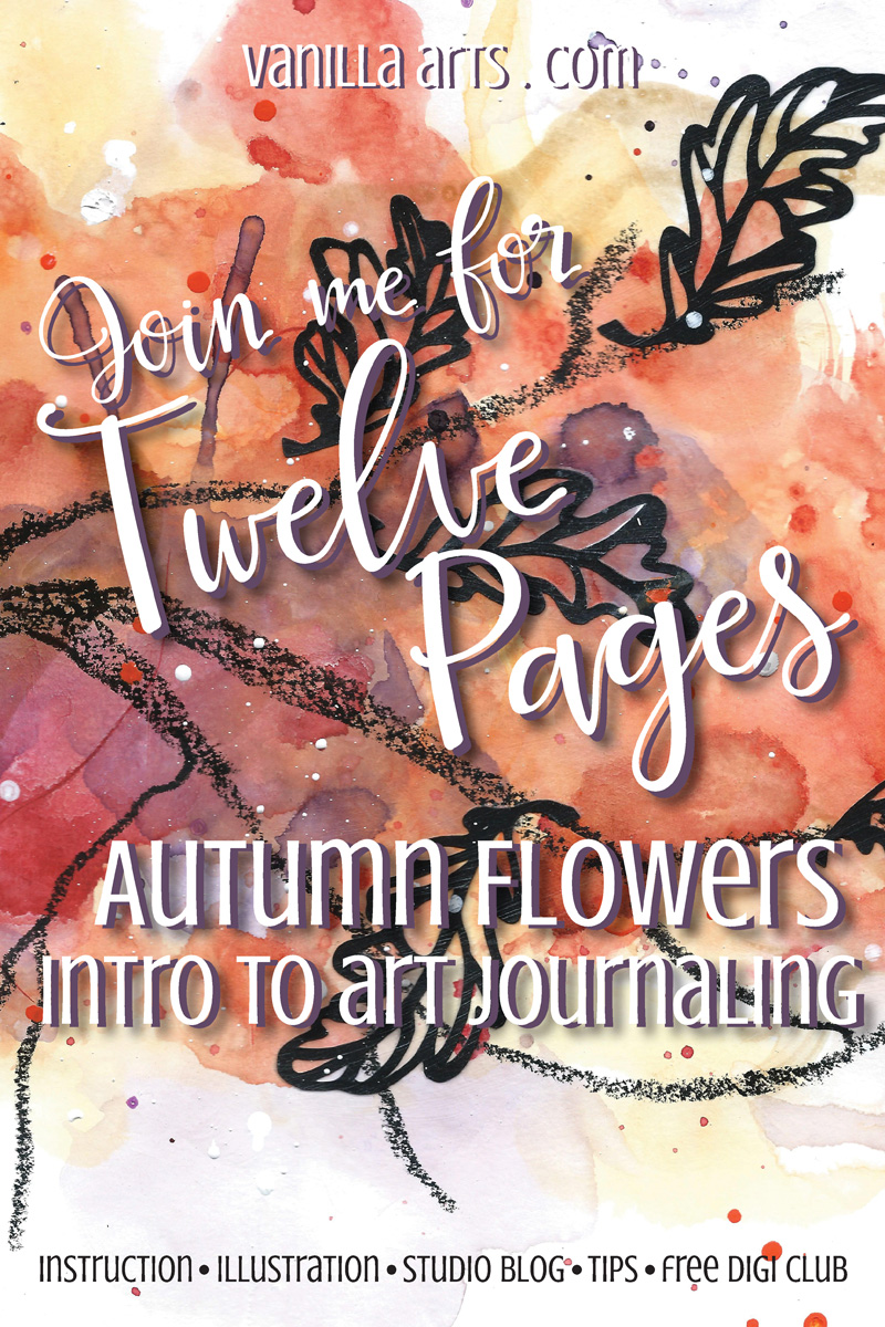 12 Pages- Monthly challenge art journal spreads for crafters | VanillaArts.com