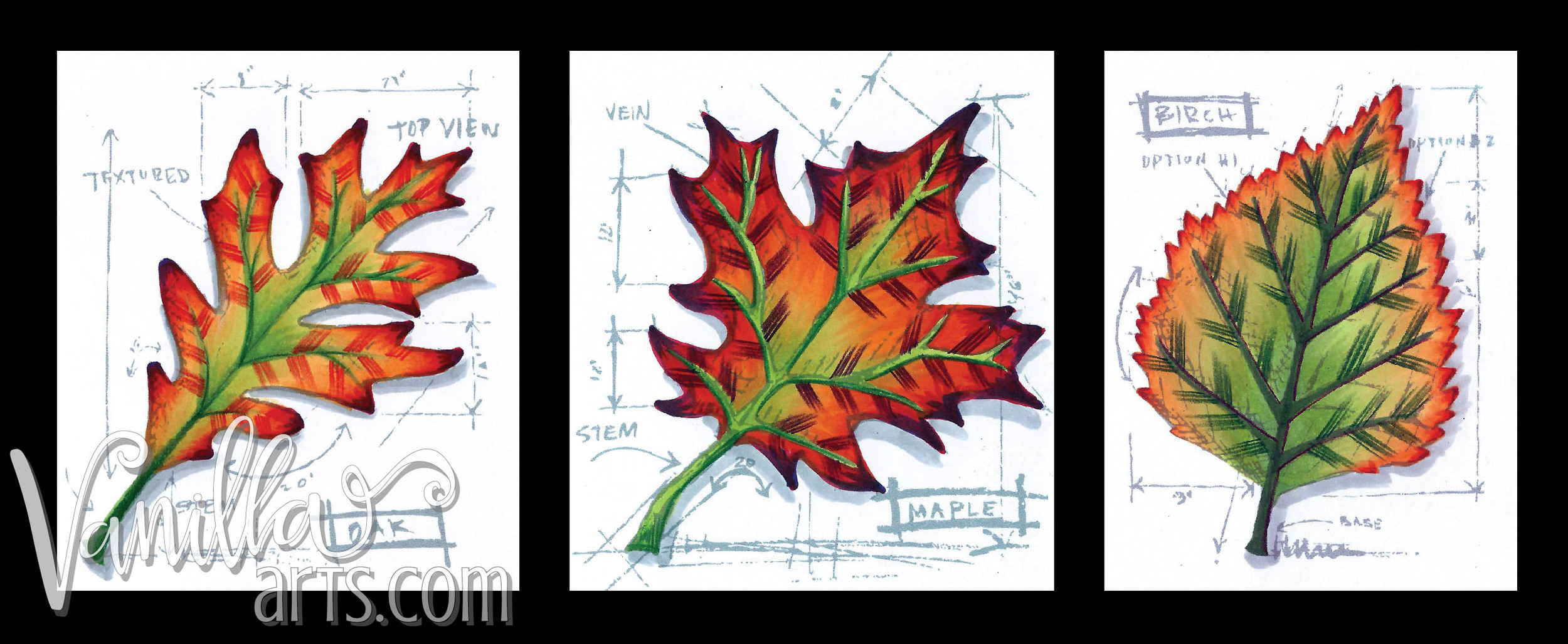 Autumn Blueprint for Color Science class, Copic Club  | VanillaArts.com