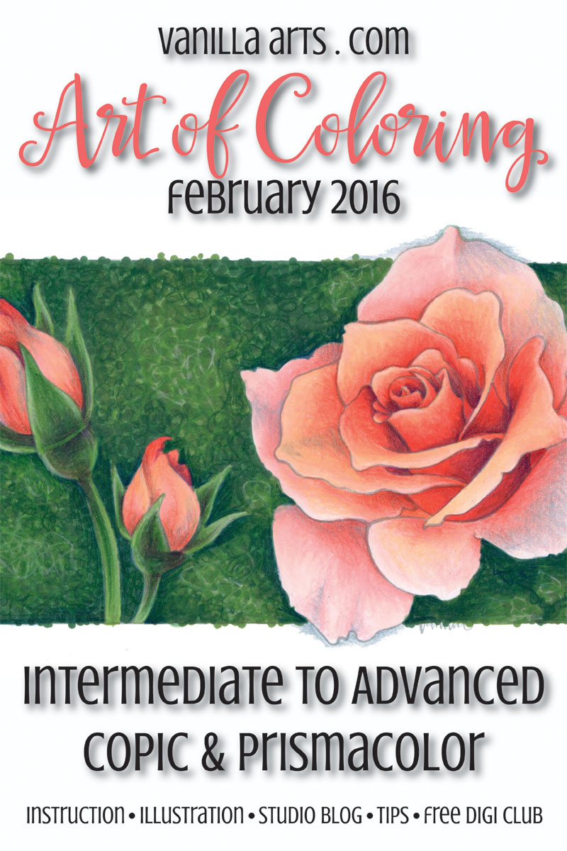 "Intermediate & Advanced Copic Coloring Class ""Peach Rose"" Feb 2016 