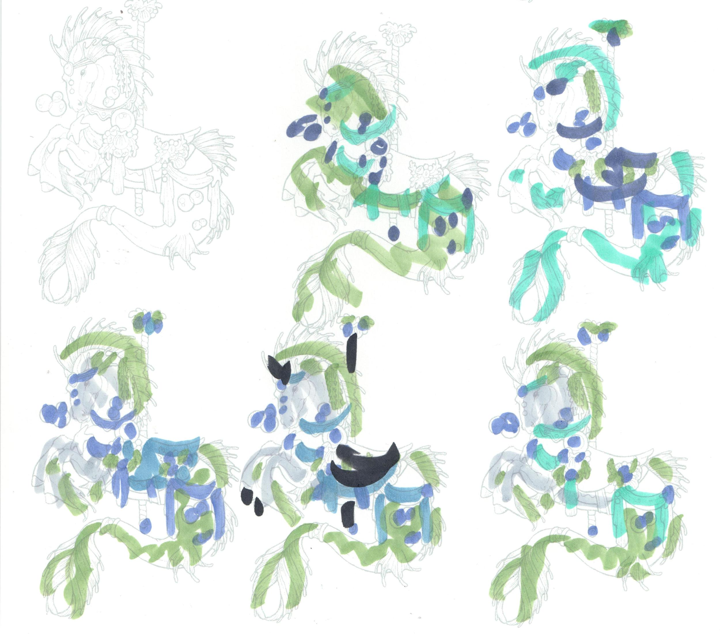 Color Study for Stamplistic Carousel Seahorse | VanillaArts.com
