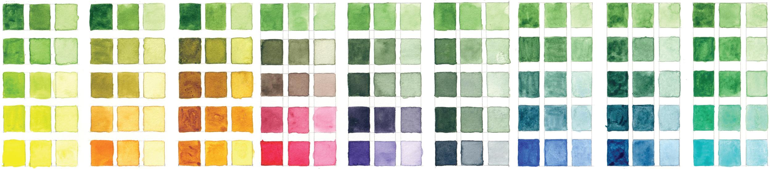 Sap Green Color Studies | VanillaArts.com