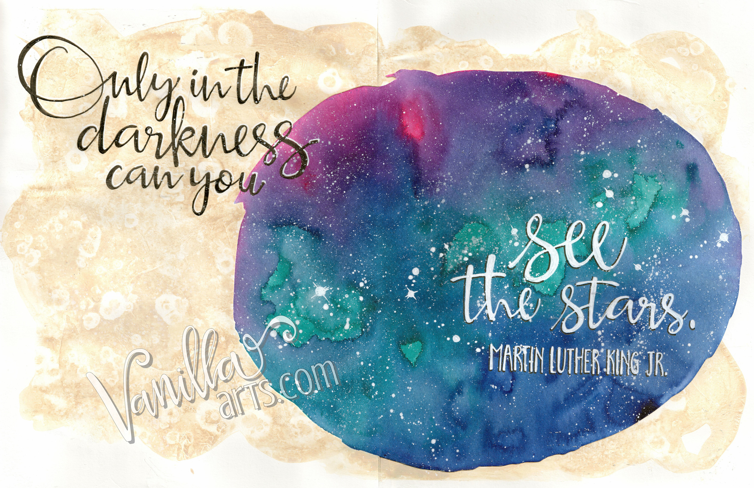 """...See the Stars"" April's 12 Pages Workshop- kit based art journaling 