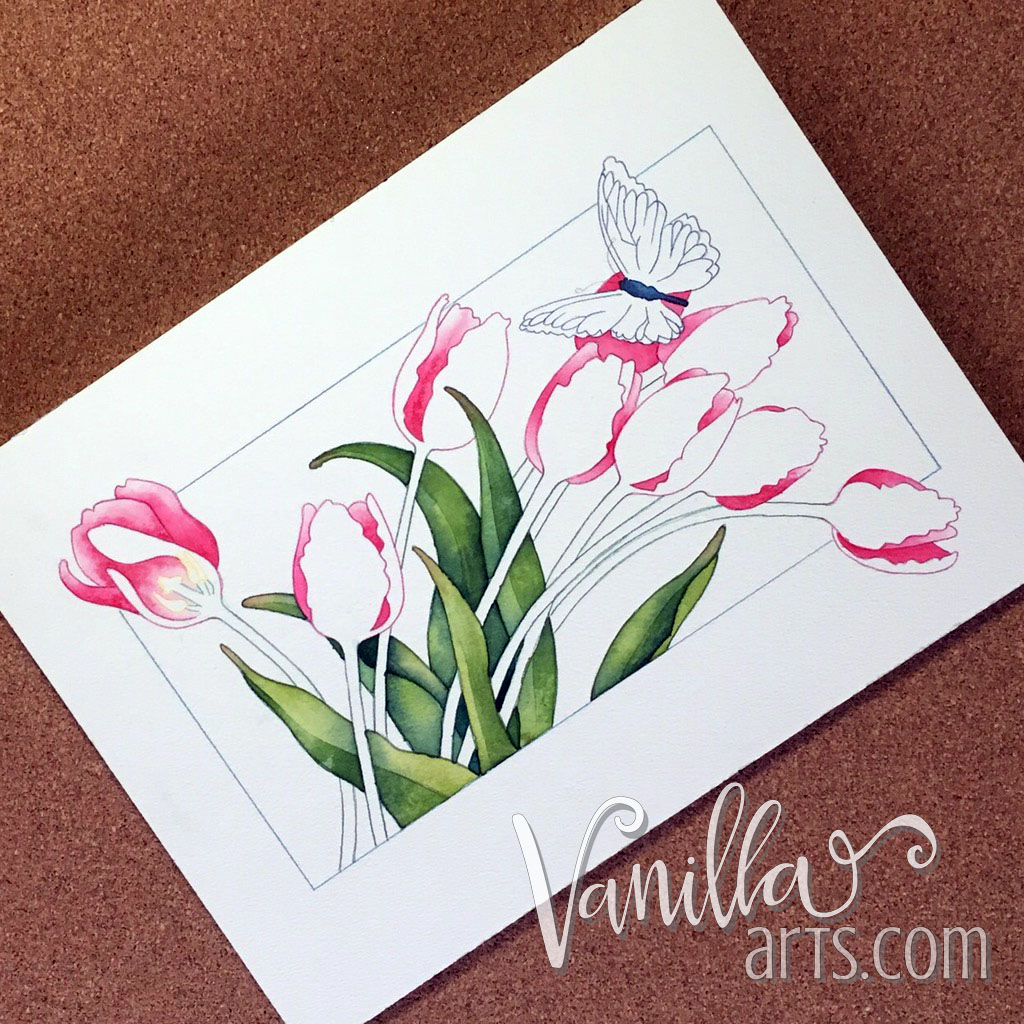 """First stage of watercoloring """"Tulips""""   VanillaArts.com"""