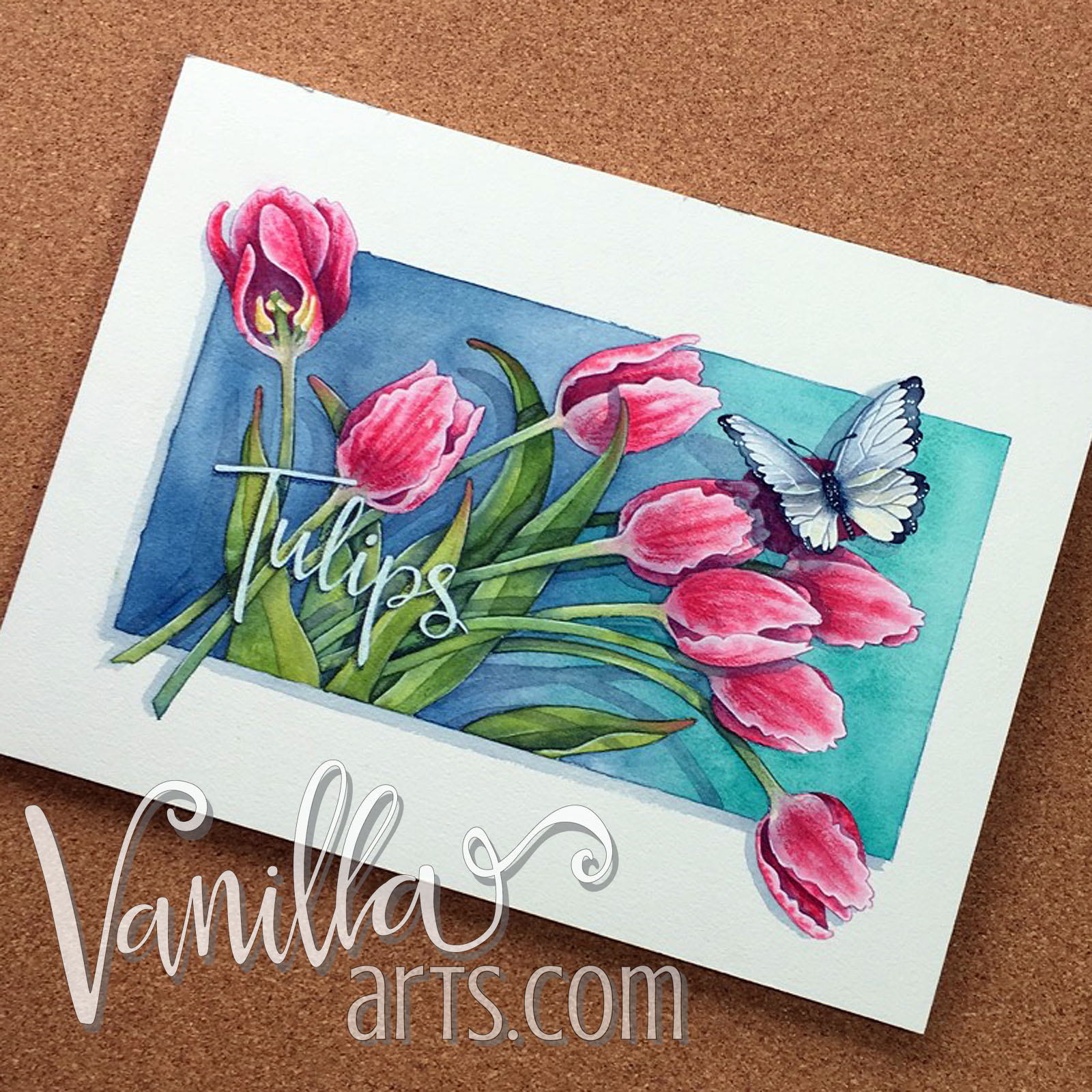 """Finished """"Tulips"""" project, watercolor lessons for Copic colorers   VanillaArts.com"""