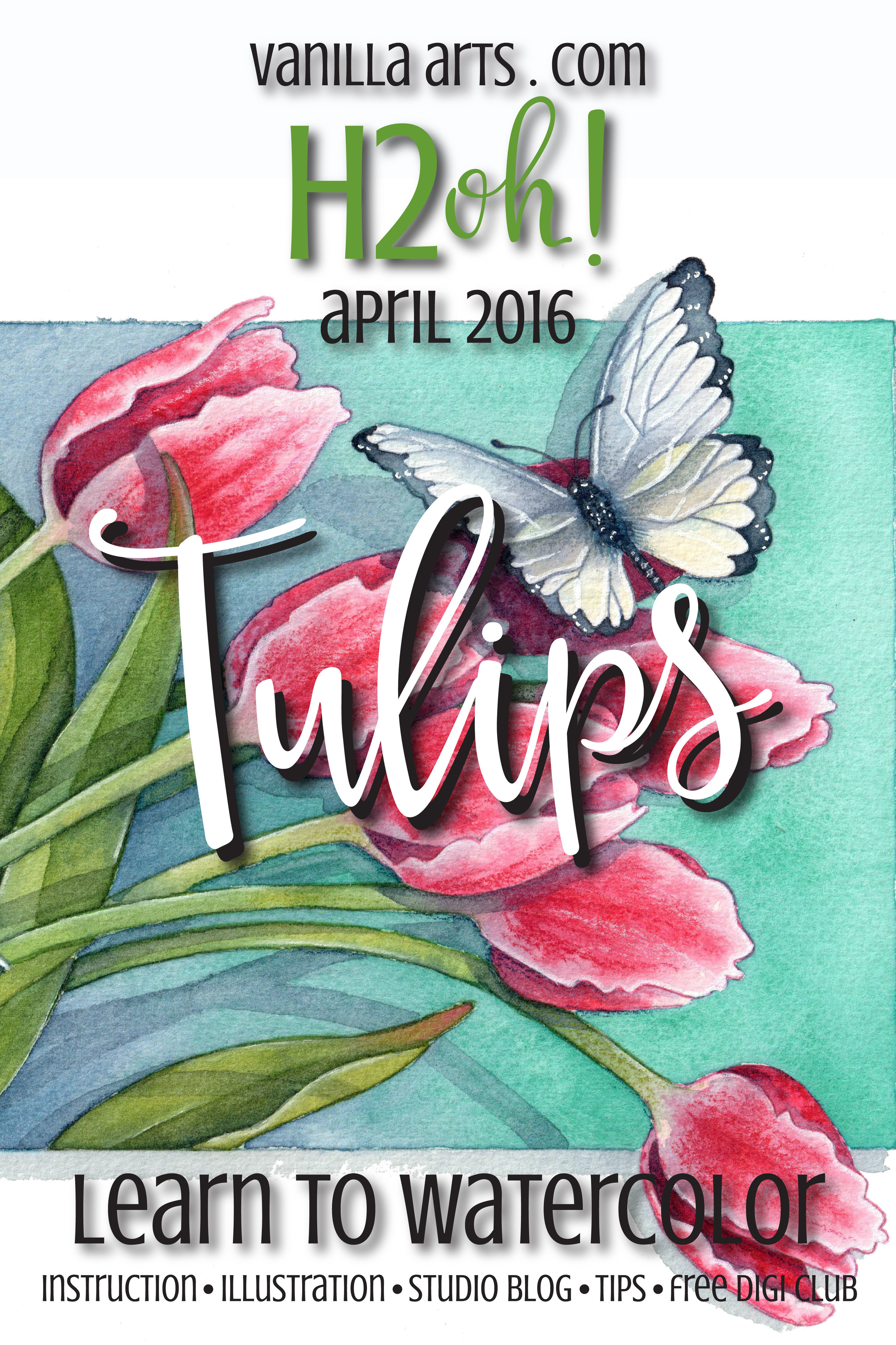 Learn to Watercolor, botanical lesson on Tulips | VanillaArts.com