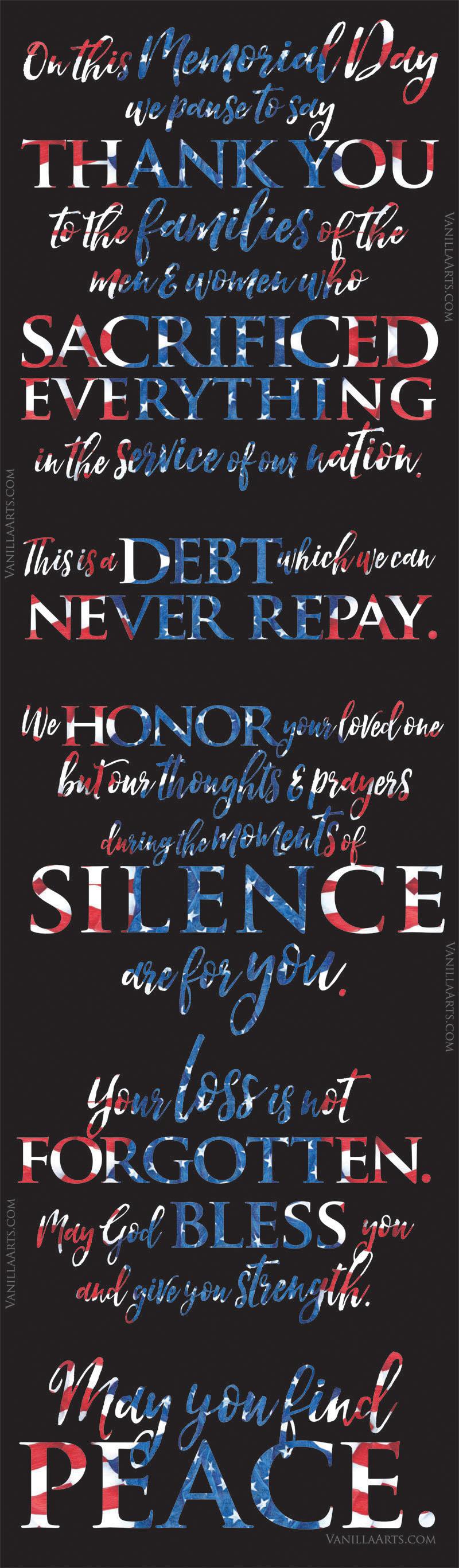 Remembering the families of fallen soldiers, marines, sailors, and airmen. | VanillaArts.com