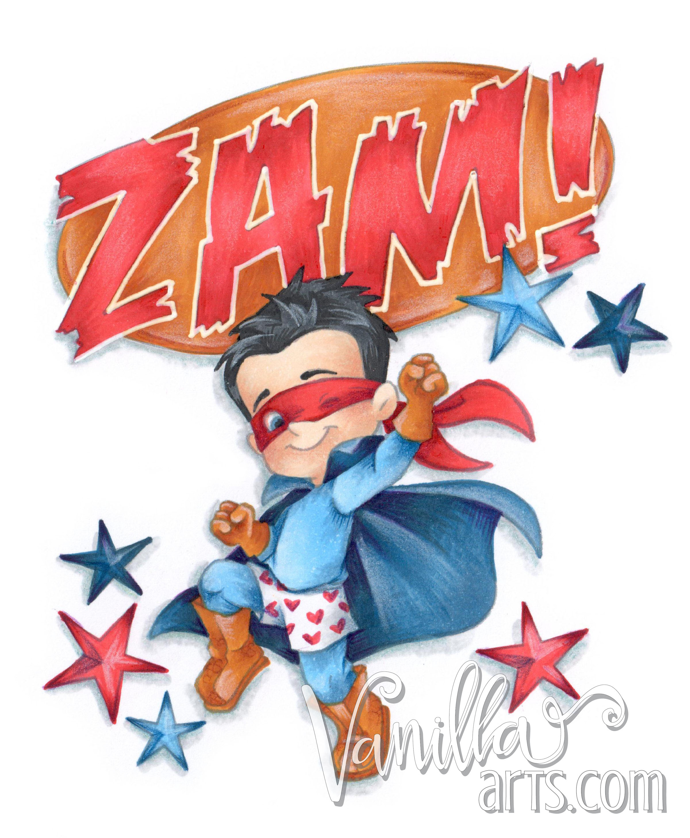 Super Hero Henry by CC Designs. Copic Club lesson for June 2016 | VanillaArts.com