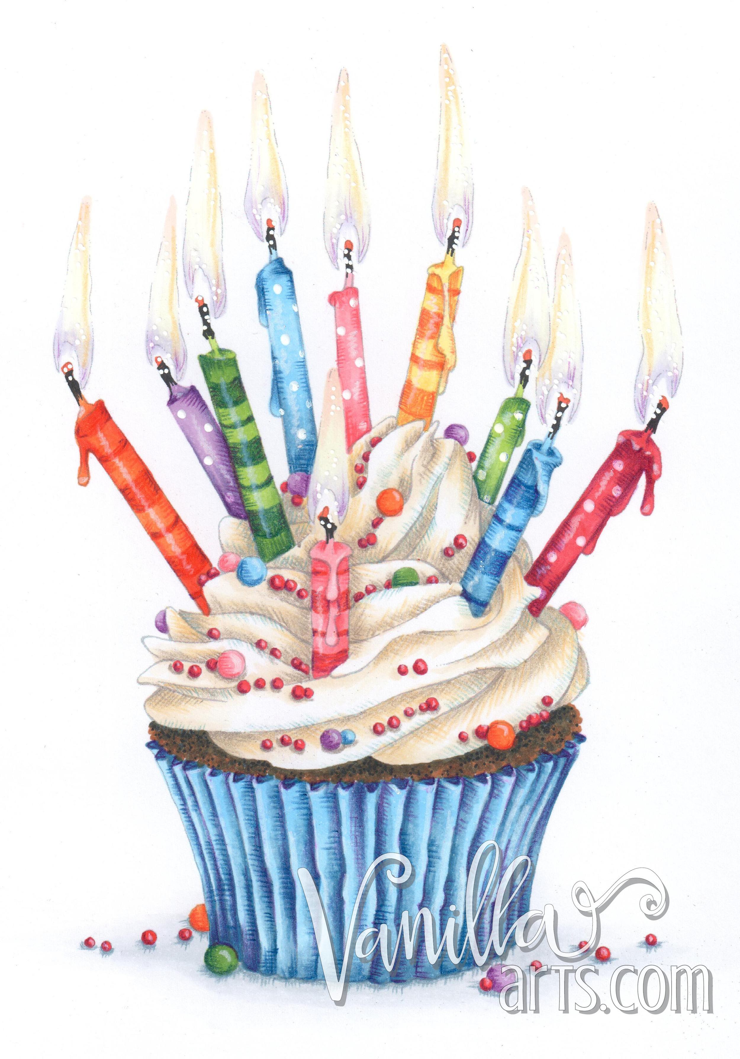Celebration Cupcake an original digital stamp    VanillaArts.com