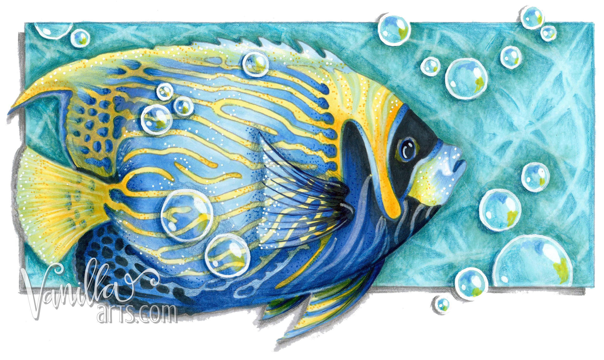 """Go Fish"" colored on X-Press It Blending Card 