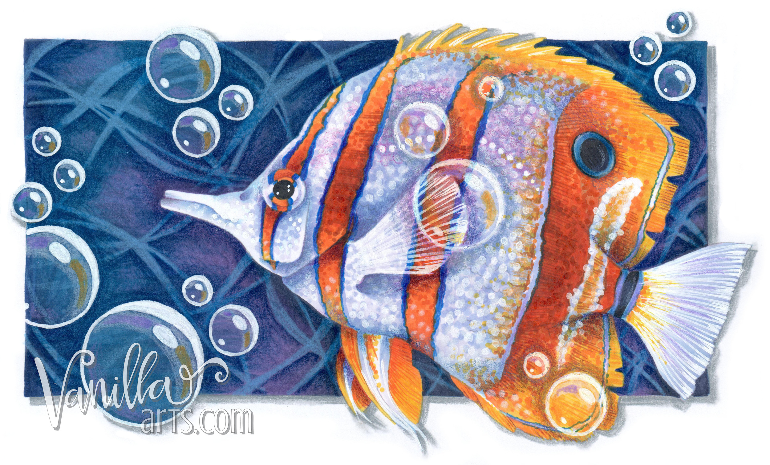 """""""Copperband Butterflyfish"""" Aug 2016 advanced Copic coloring classes 