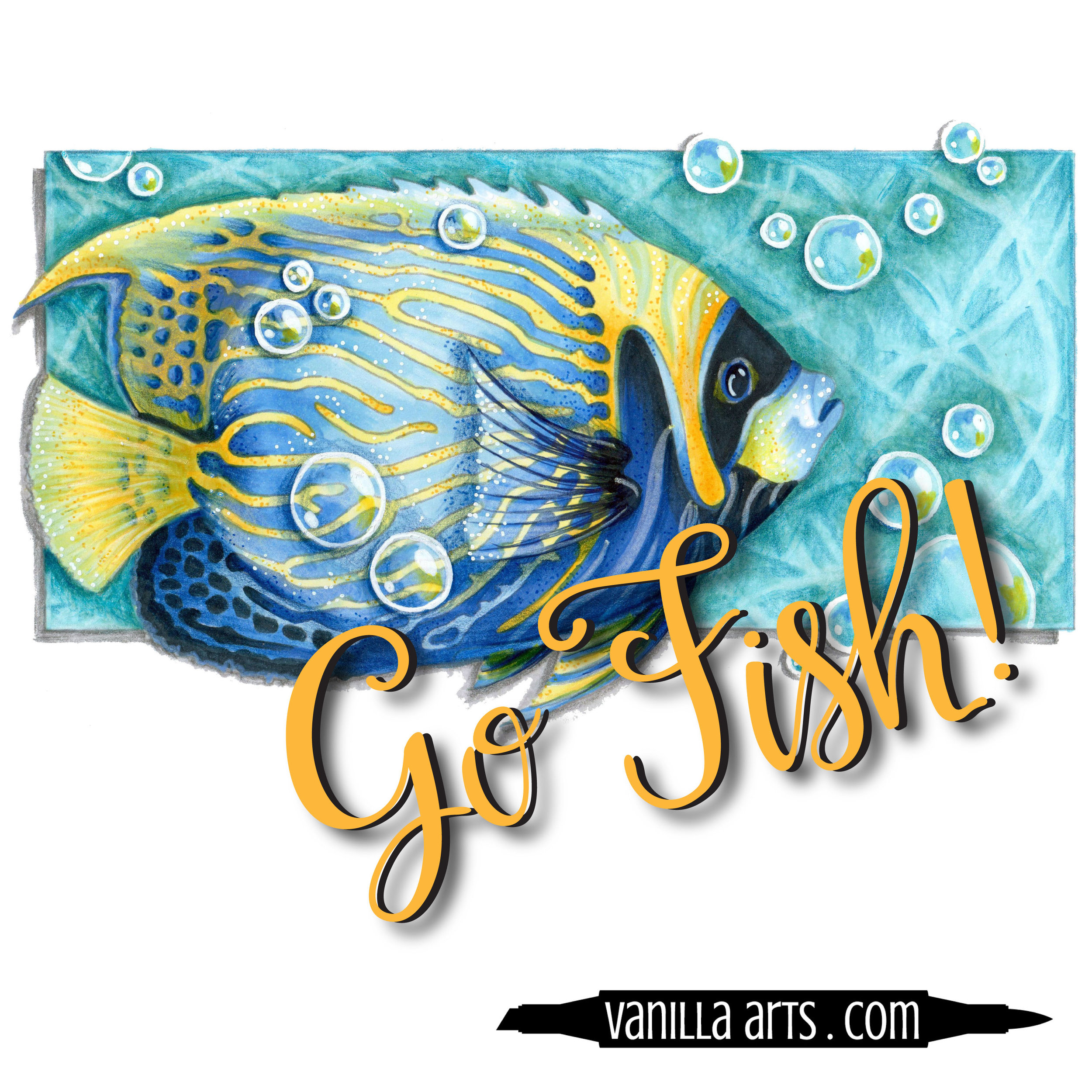 """Go Fish"" a digital stamp image designed especially for marker coloring 