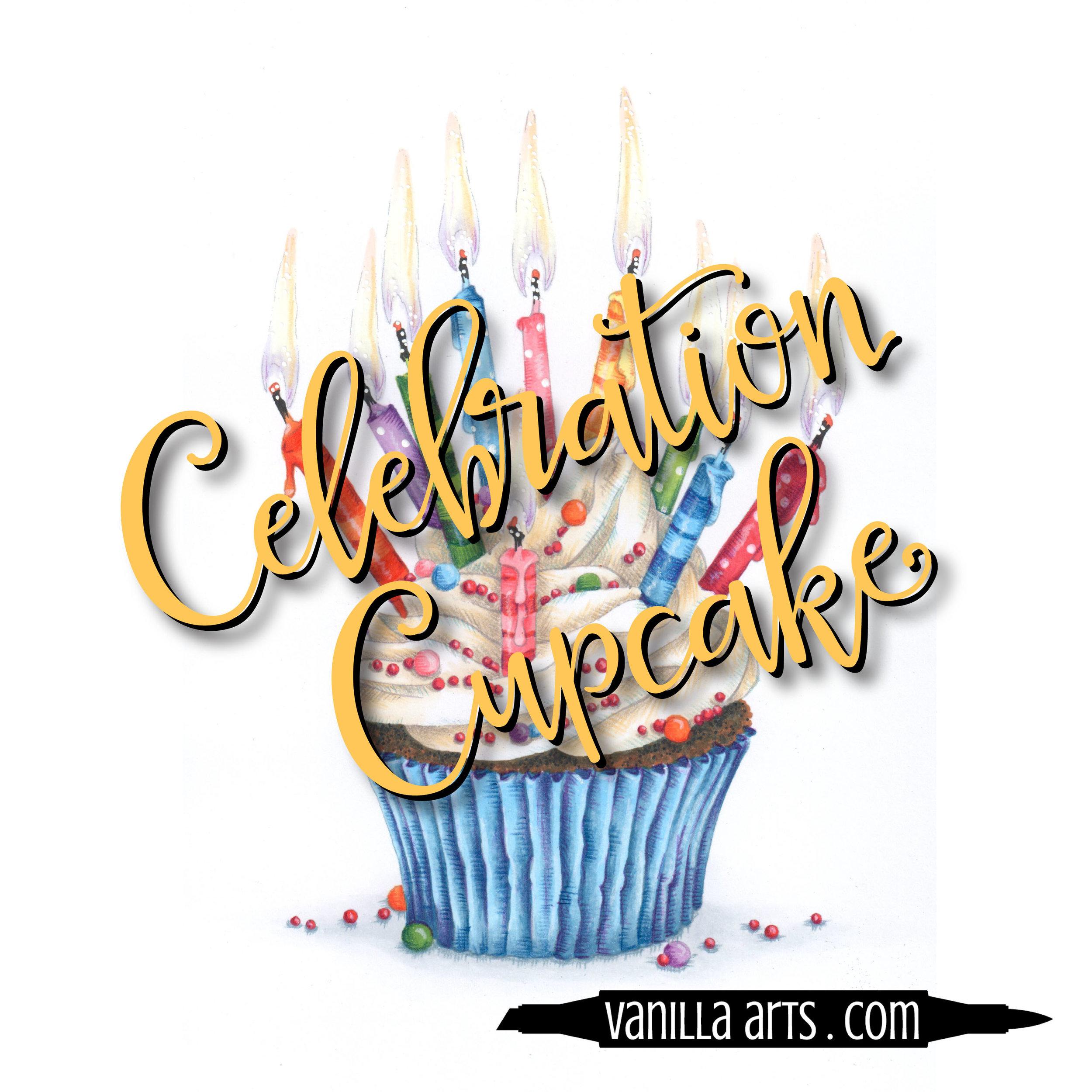 """Celebration Cupcake"" a digital stamp image designed especially for marker coloring | VanillaArts.com"