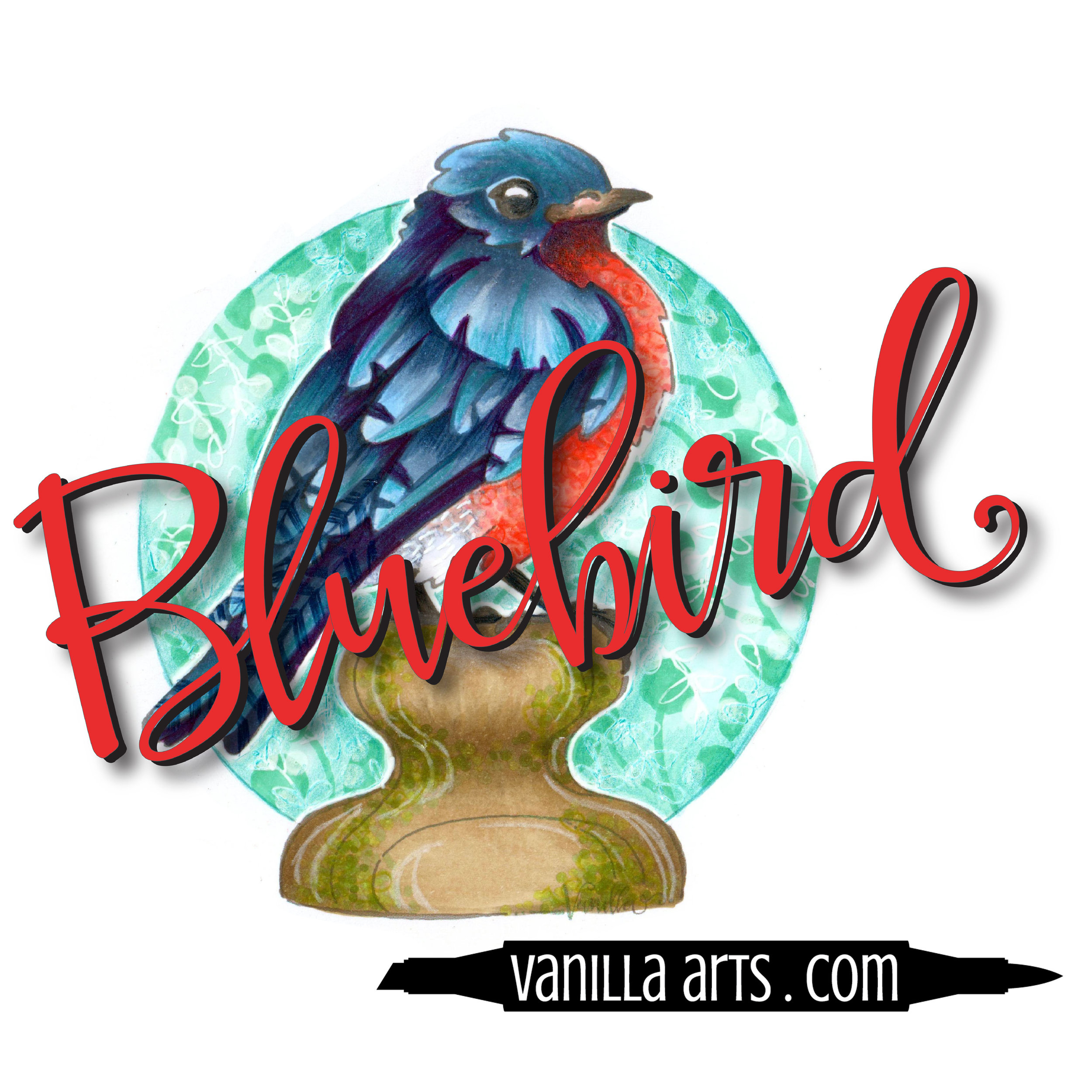 """Bluebird"" a digital stamp image designed especially for marker coloring 