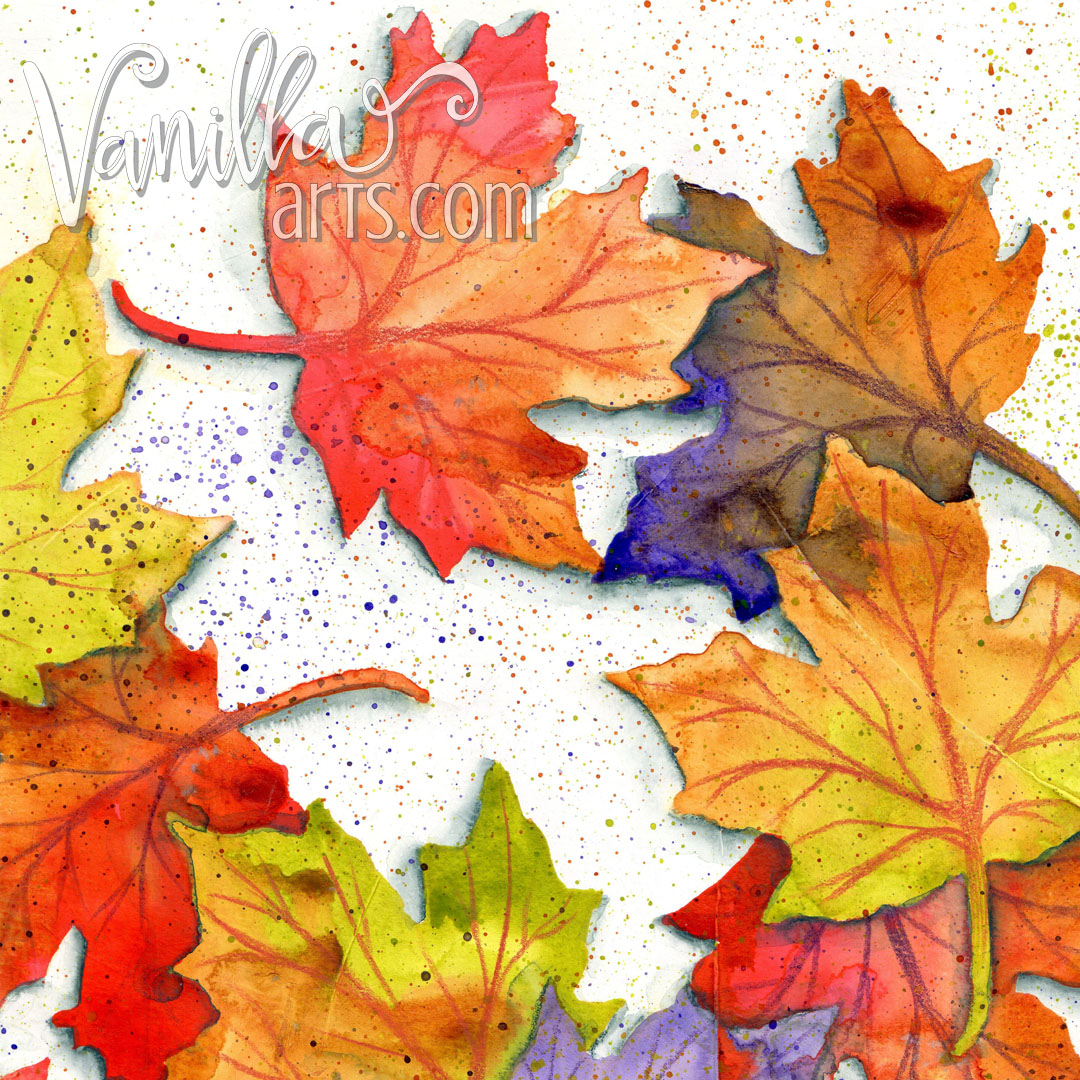 "Closeup of ""Autumn Smile"", a 12 Pages project, kit based art journaling classes with Amy Shulke 