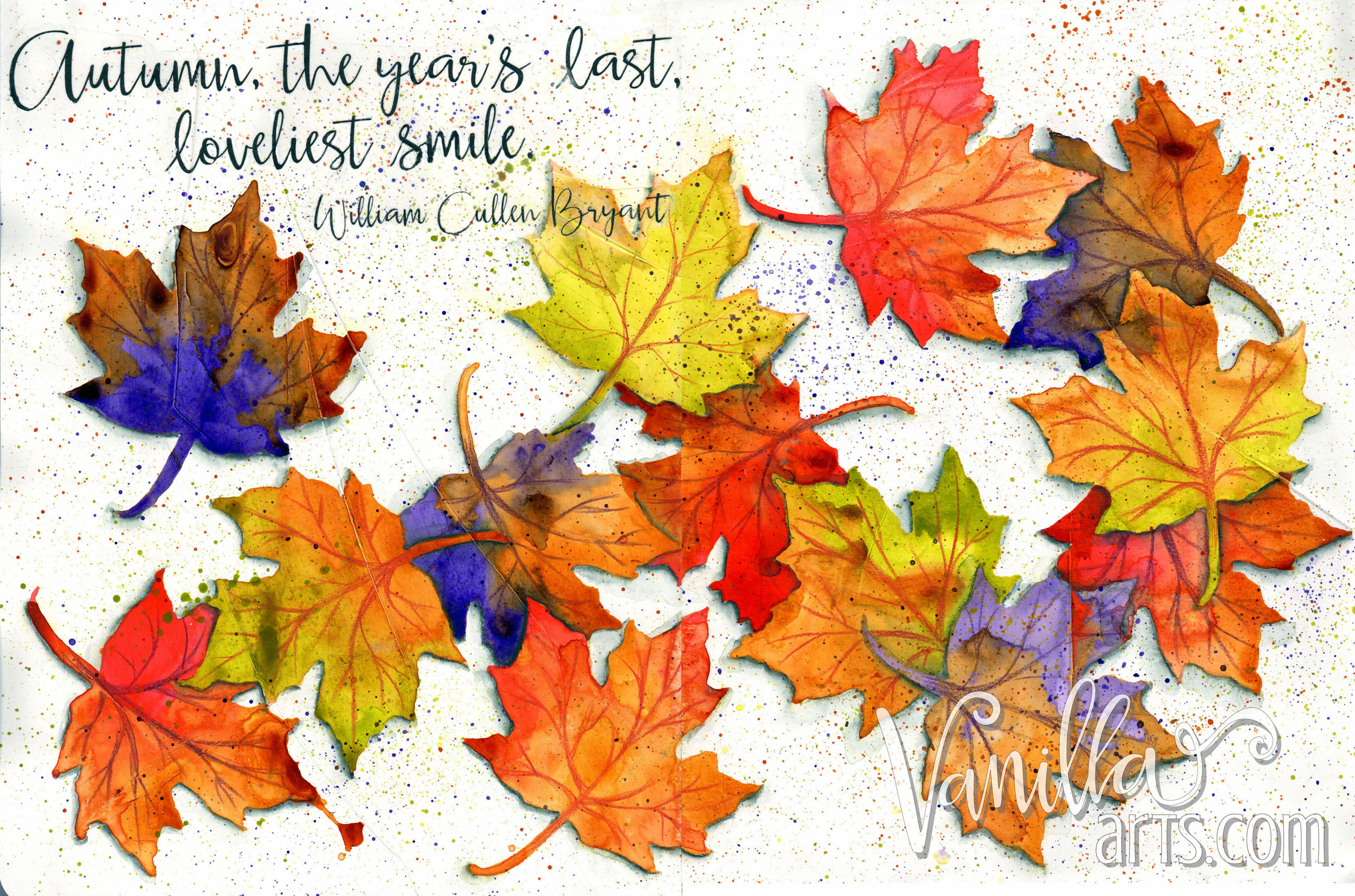 """""""Autumn Smile"""" a 12 Pages project- kit based art journaling for non-drawing students 