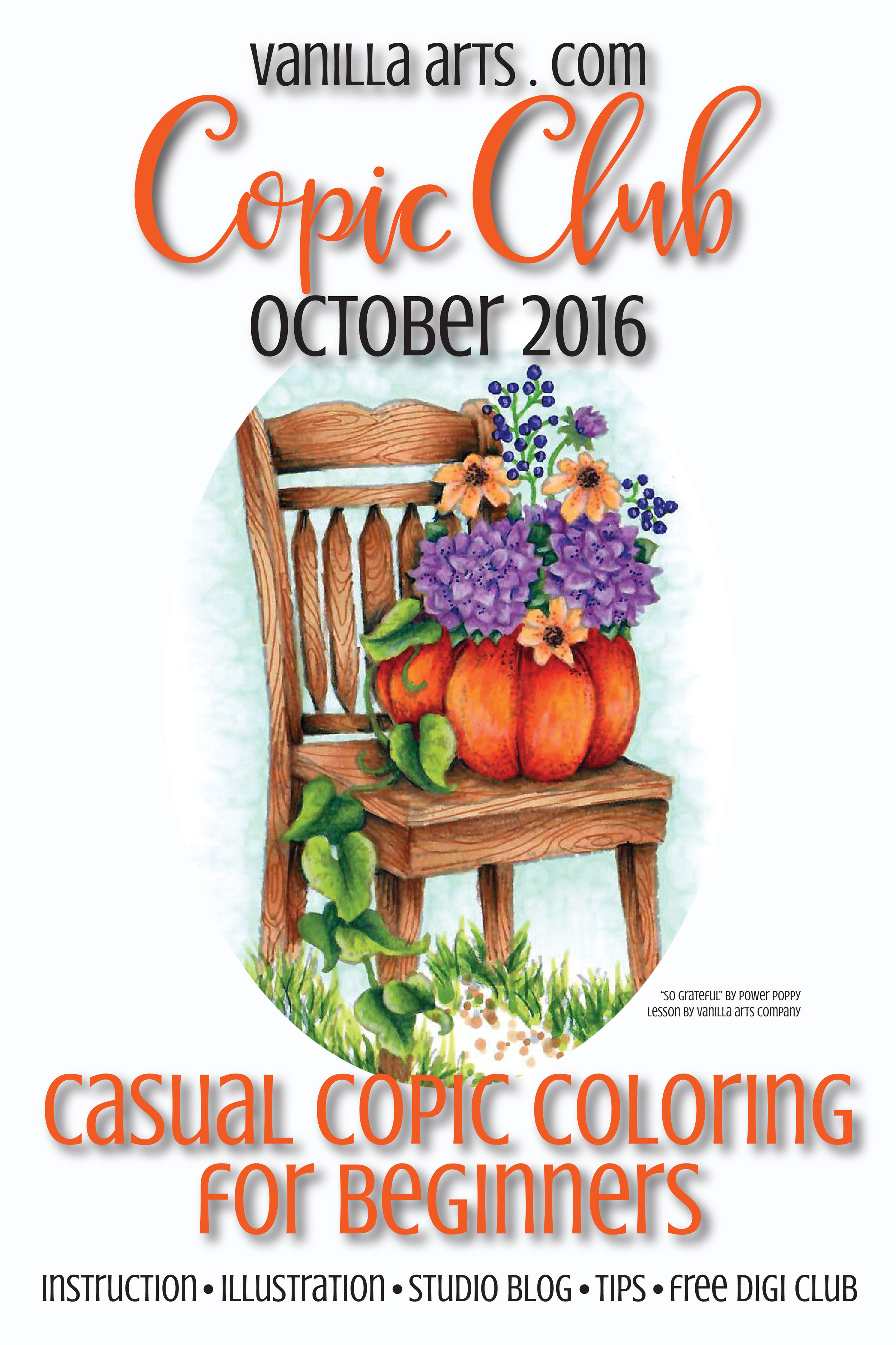 """Copic Club beginner level class. """"So Grateful"""" a lesson in focus and composition for still life stamp images. 