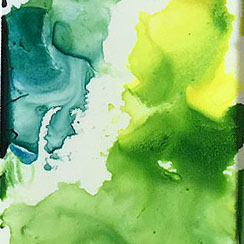 Green colors mixed from Old Holland Sap Green Lake Extra, DS Hansa Yellow Light, and M.Graham Prussian Blue.