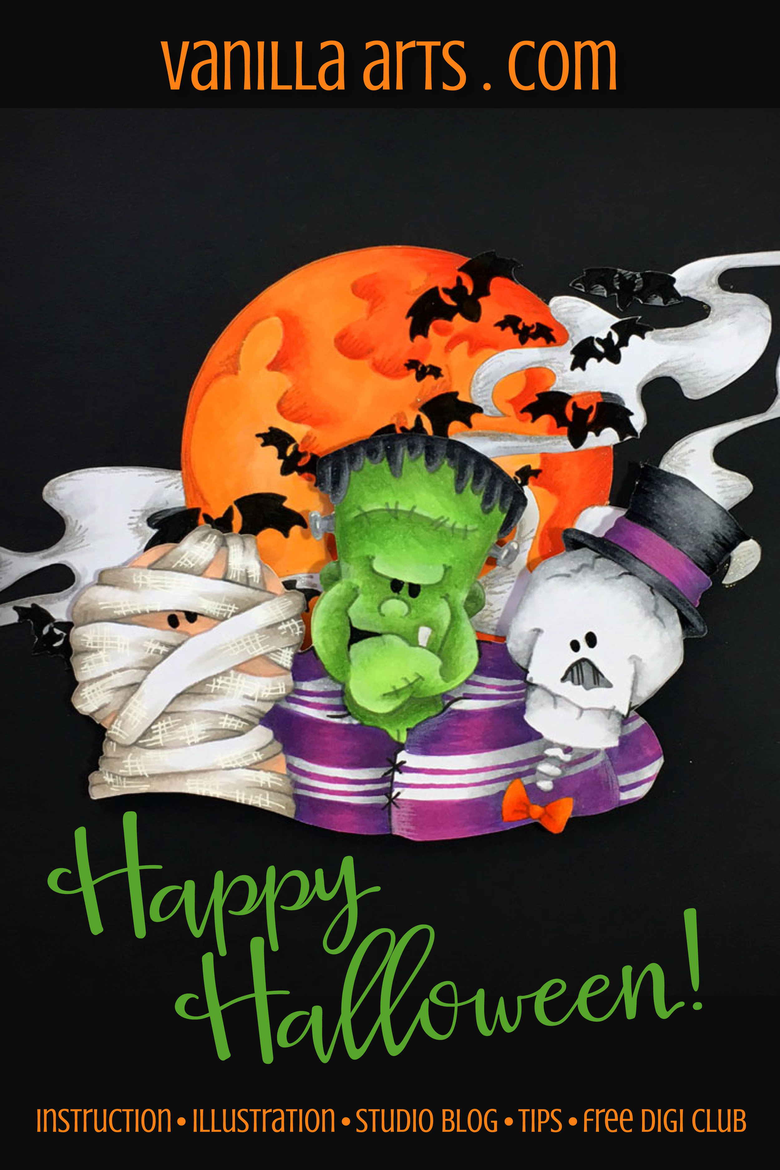 """Combined stamp project- """"Halloween Moon"""" by Vanilla Arts Co and """"Halloween Buddies"""" by Whipper Snapper Designs. Beginner level Copic coloring. 
