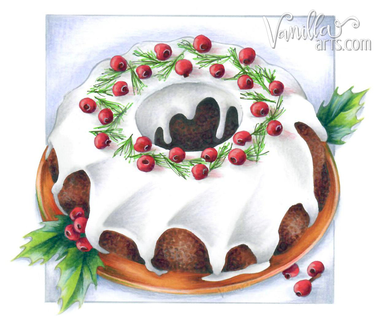 """Christmas Cake"" an Art of Coloring class project for Nov 2016- lesson: Food & Photorealism 