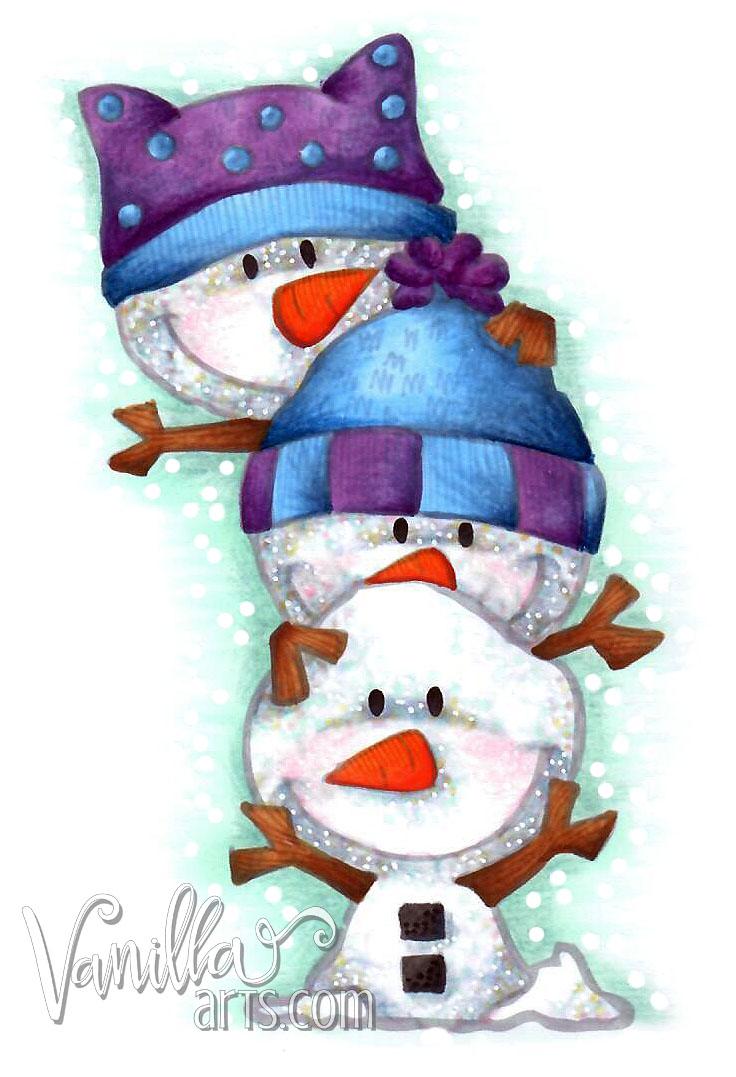 """Stack of Snowmen"" a Copic Marker beginner level lesson for Dec 2016 | VanillaArts.com"