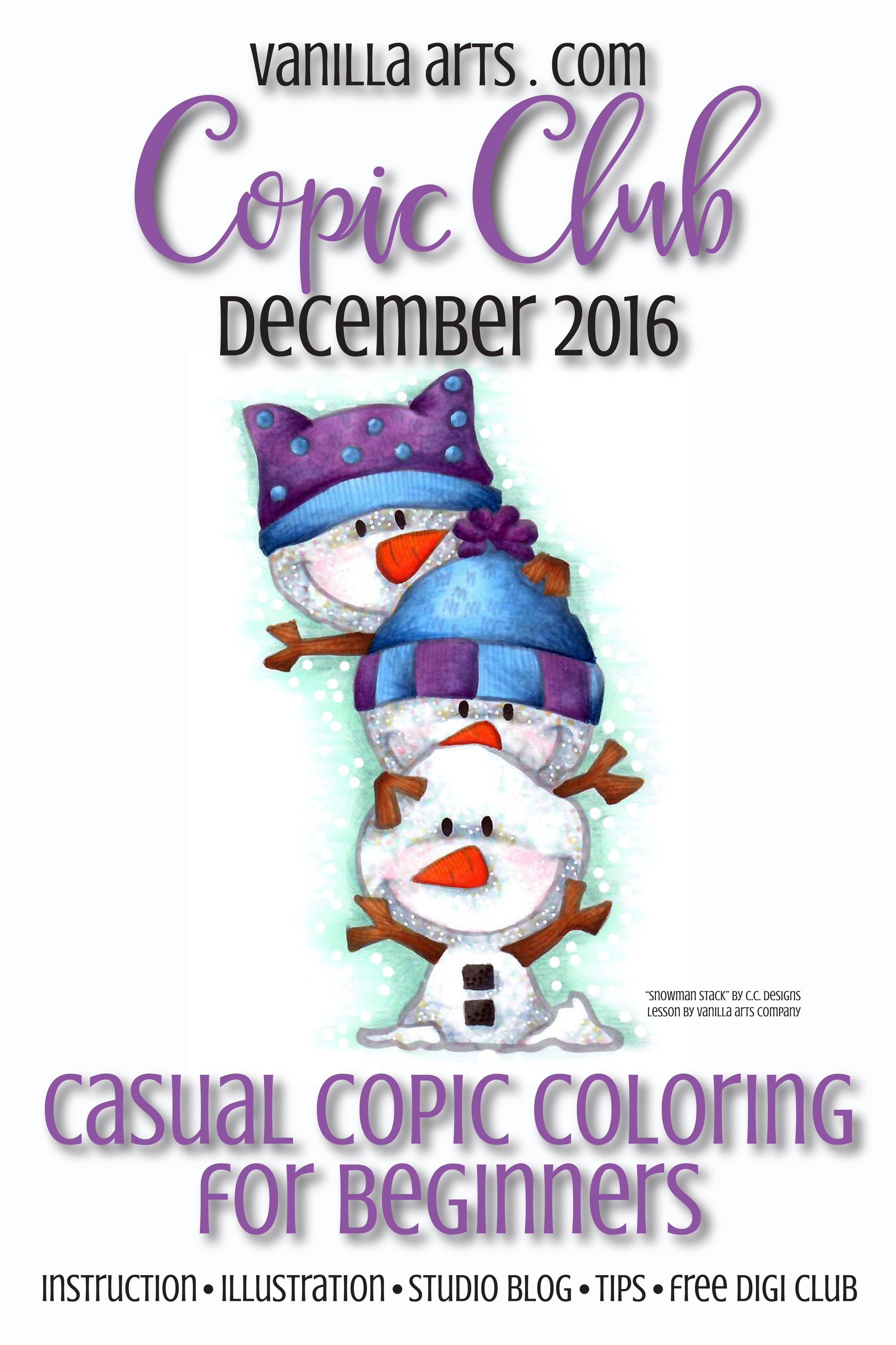 Dec 2016 Copic Club, classes for beginner level Copic Marker. Lesson on coloring snow. | VanillaArts.com