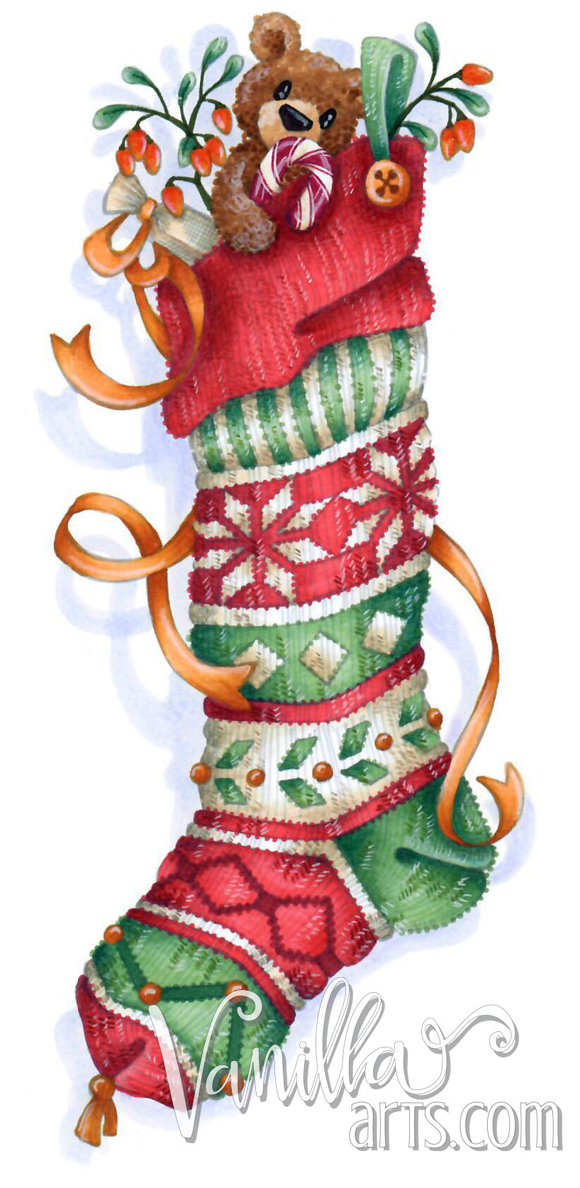 """Fair Isle Stocking"" a Copic and colored pencil coloring lesson for intermediate + students. 