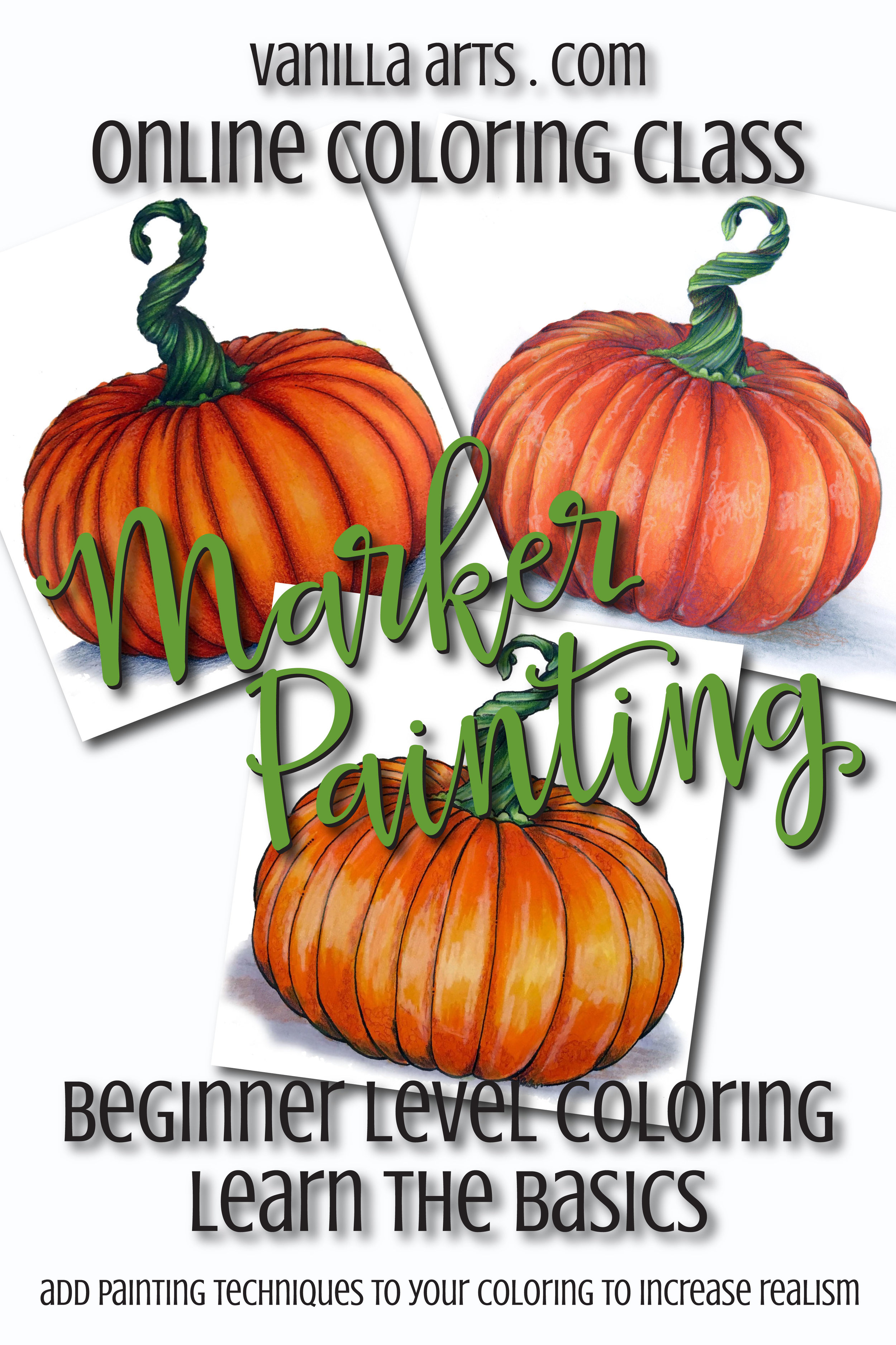 Beginner level Copic Marker classes. Marker Painting Basics helps you add realistic depth and dimension to your coloring.   VanillaArts.com