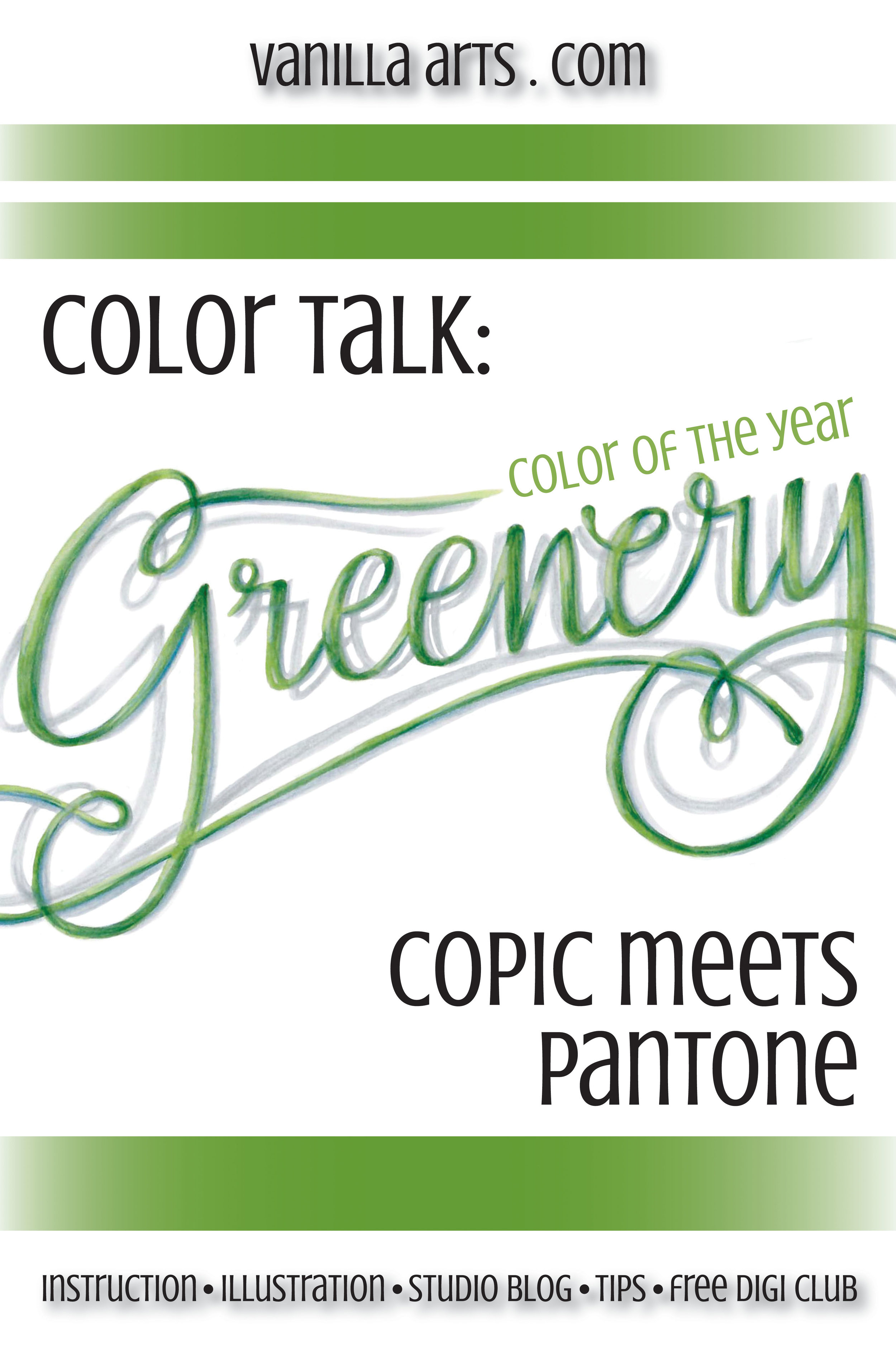 """Pantone's Color of the Year, """"Greenery"""" meets Copic Markers.   VanillaArts.com"""