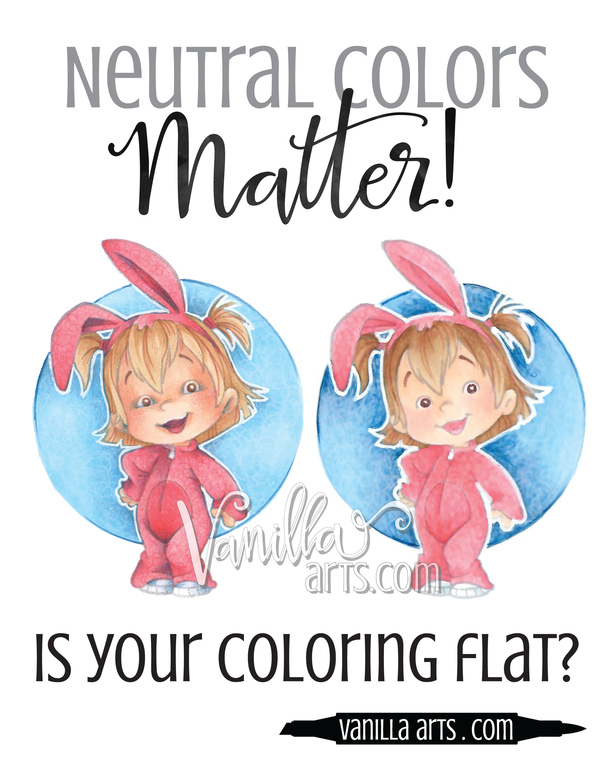 Is your coloring flat and lacking in depth? Why you need to own lots of ugly Copic Markers. | VanillaArts.com