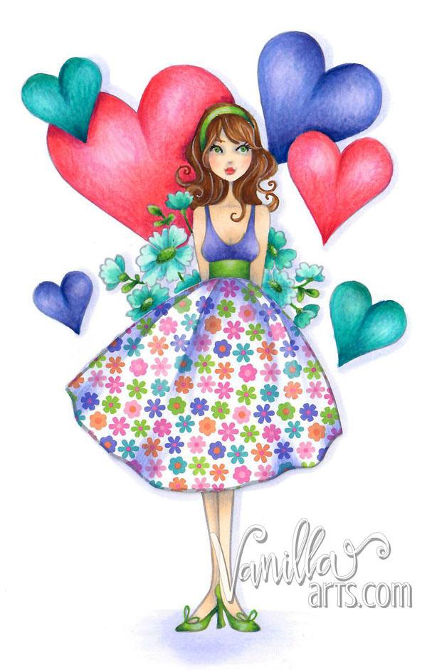 """Flowersbehindmybackabella"" a beginner Copic class by VanillaArts.com"