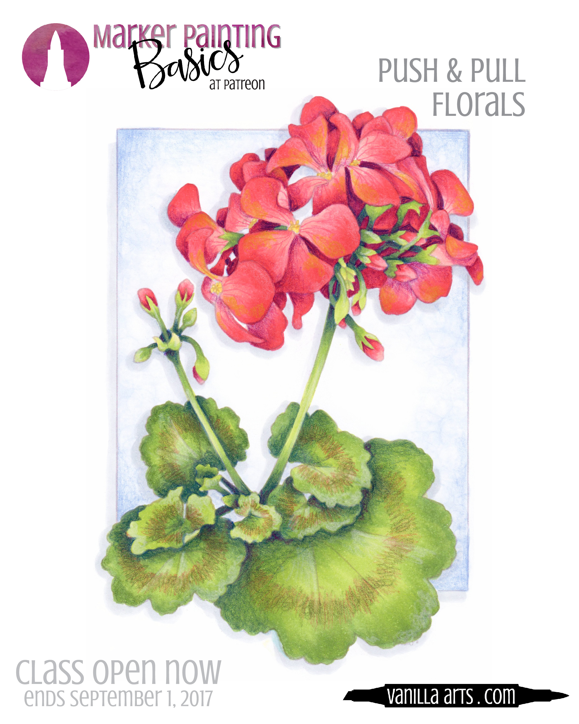 """""""Scarlet Geranium"""" is the July/August 2017 online Copic coloring lesson for Marker Painting Basics. Beginner level class with challenges for intermediate and advanced students. 