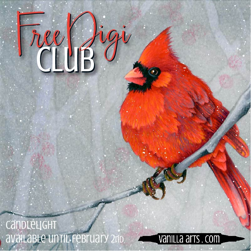 "Get your FREE copy of the ""Red Bird"" digital stamp in January 2018. Join the Free Digi Club for a new stamp every month! 