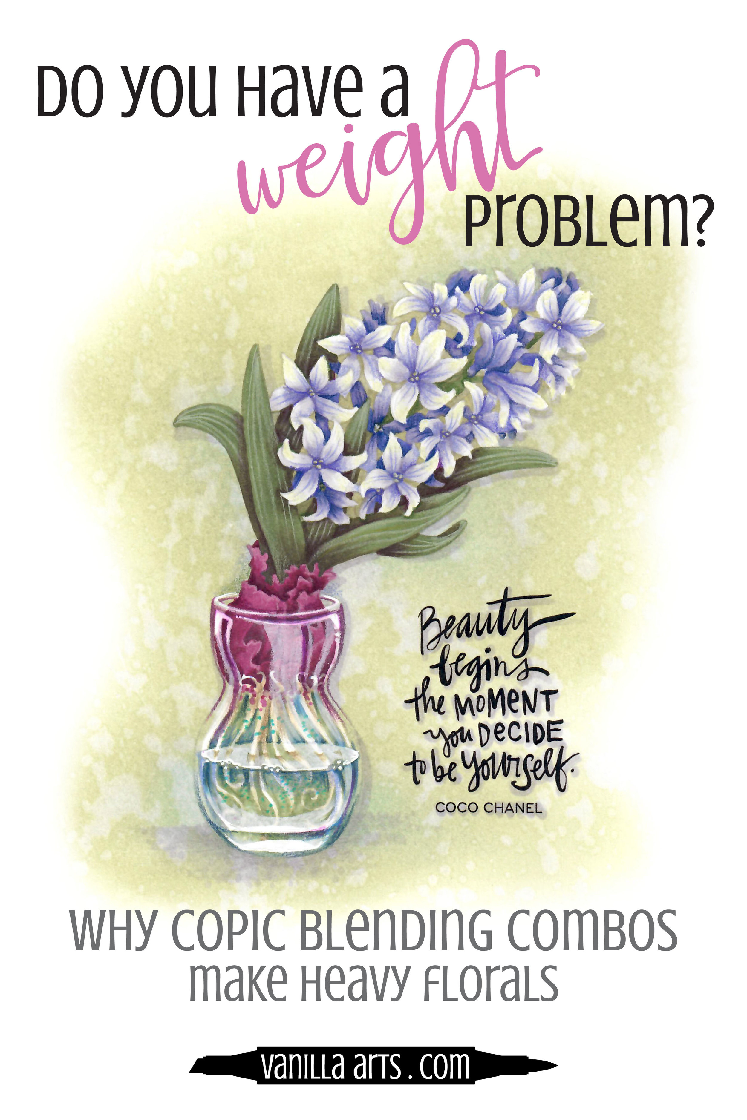 Flowers should be lightweight and delicate. Do your Copic Marker projects look heavy and leaden? Learn why Copic blending combinations add weight to your projects and how to loose the visual weight! Live broadcast at Patreon. | VanillaArts.com
