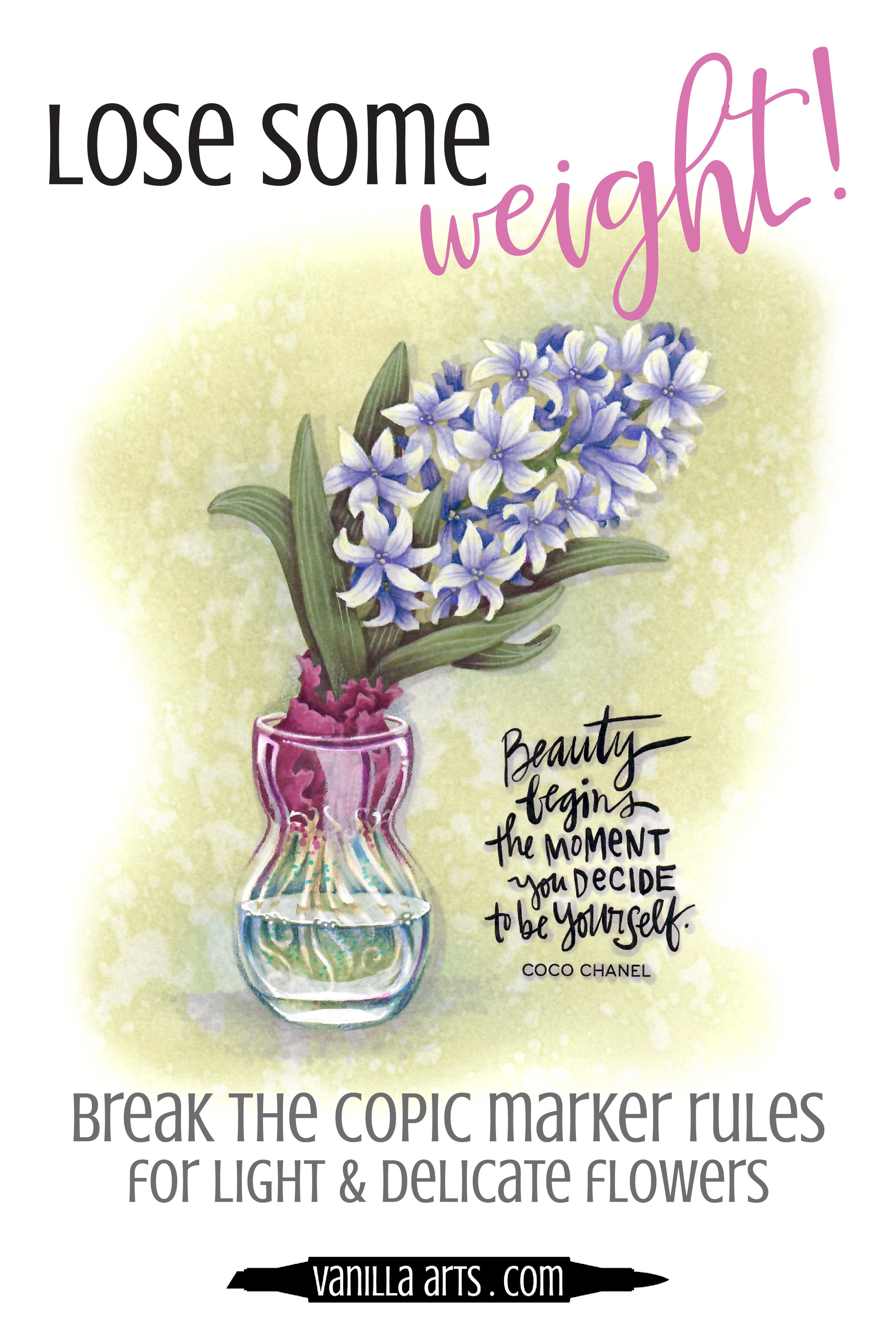 Do your floral projects turn out heavy looking? It's not your coloring skills, it's not the Copic Markers. Learn how to break the usual Copic shading rules to color lightweight and delicate floral stamps. Livestream broadcast coloring demonstration for intermediate to advanced adult colorers. | VanillaArts.com