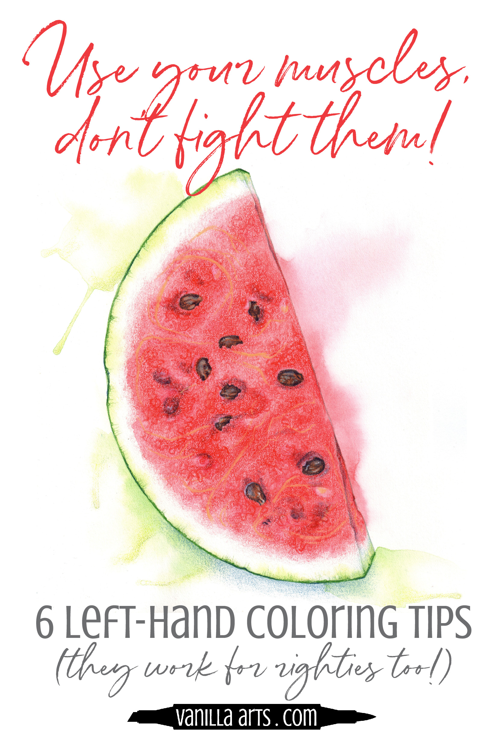 Improve your Copic Marker and colored pencil projects by respecting the way your hand muscles work! Comfortable strokes aren't just more efficient, they look better too! | VanillaArts.com