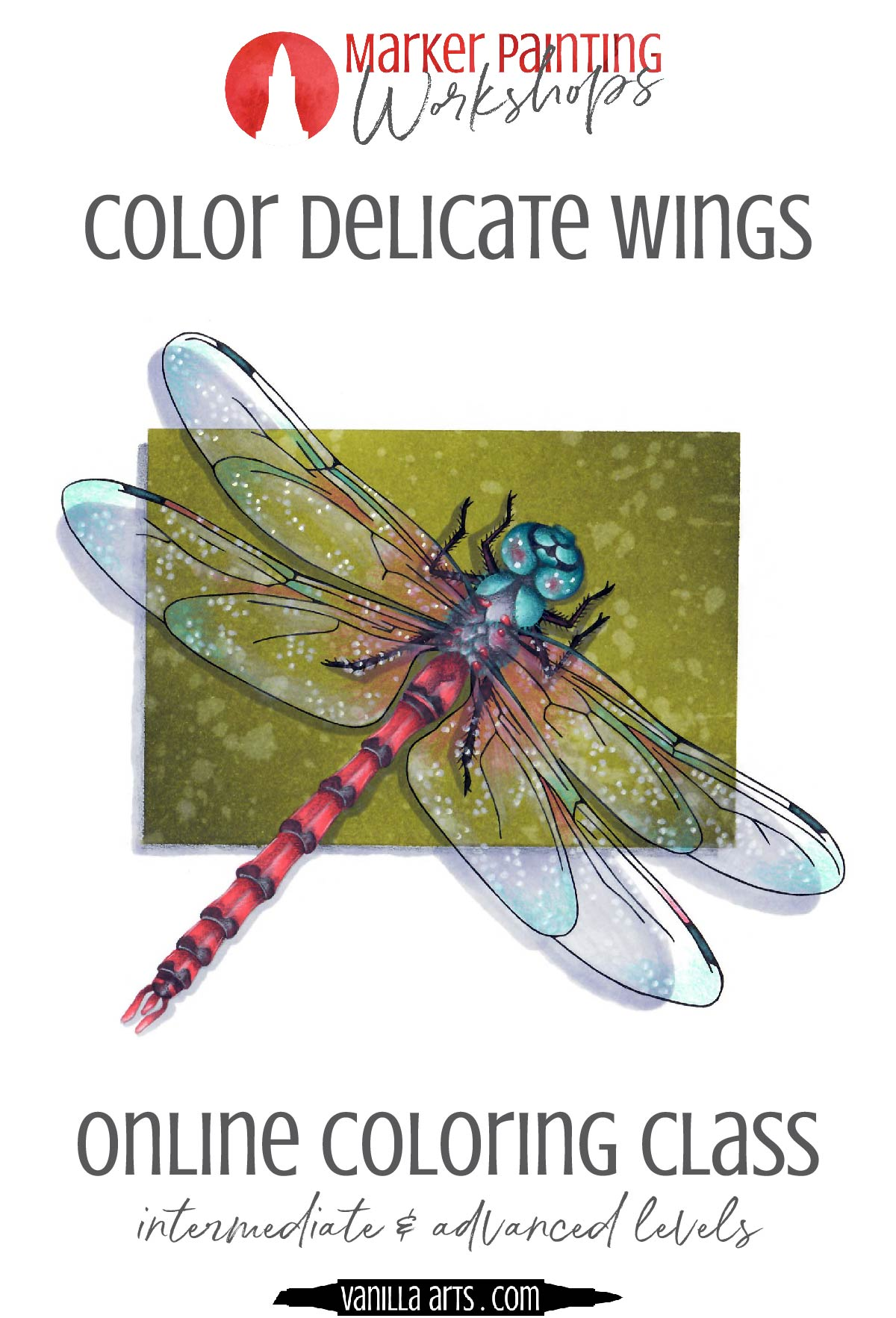 Learn to color transparent or translucent items without the use of a blue marker. Copic Marker blue tutorials lead to fake looking water, glass, and wings because those objects aren't blue! | VanillaArts.com | #copicmarker #coloredpencil #realisticcoloring #howtocolor