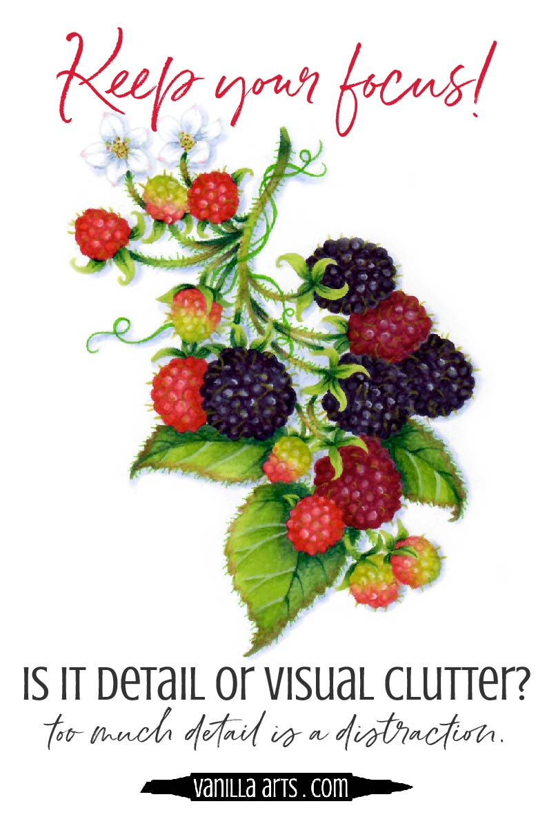 How do you decide which details to color for your Copic Marker projects? 5 ways to determine if it's important or if it's visual clutter! | VanillaArts.com | #copic #coloredpencil #coloringtips #adultcoloring #howtocolor