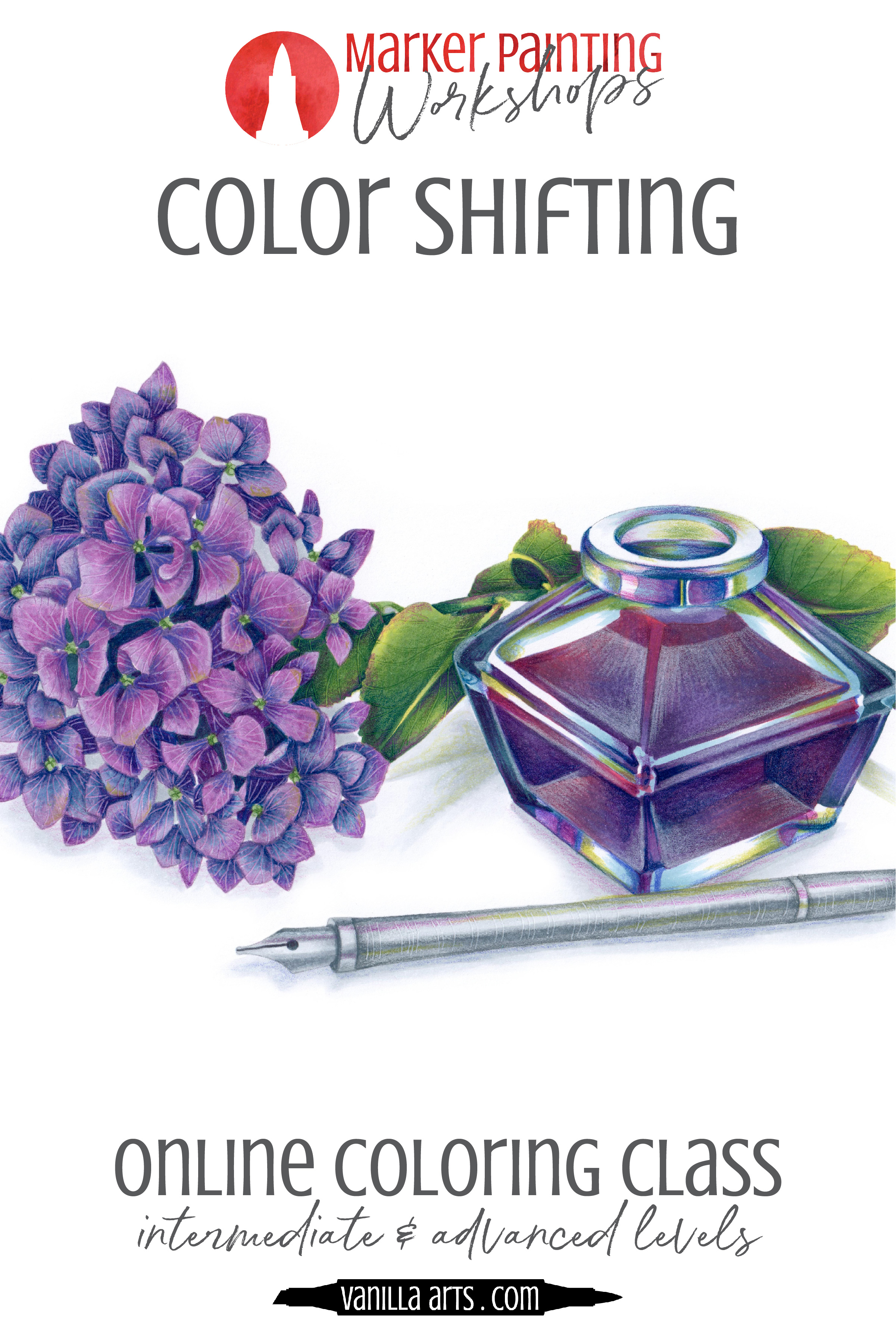 """Marker Painting Workshops. Learn to add realism and artistry to your Copic Marker or colored pencil adult coloring projects. """"Tree Frog"""" teaches the color sculpting process to maximize realism. 