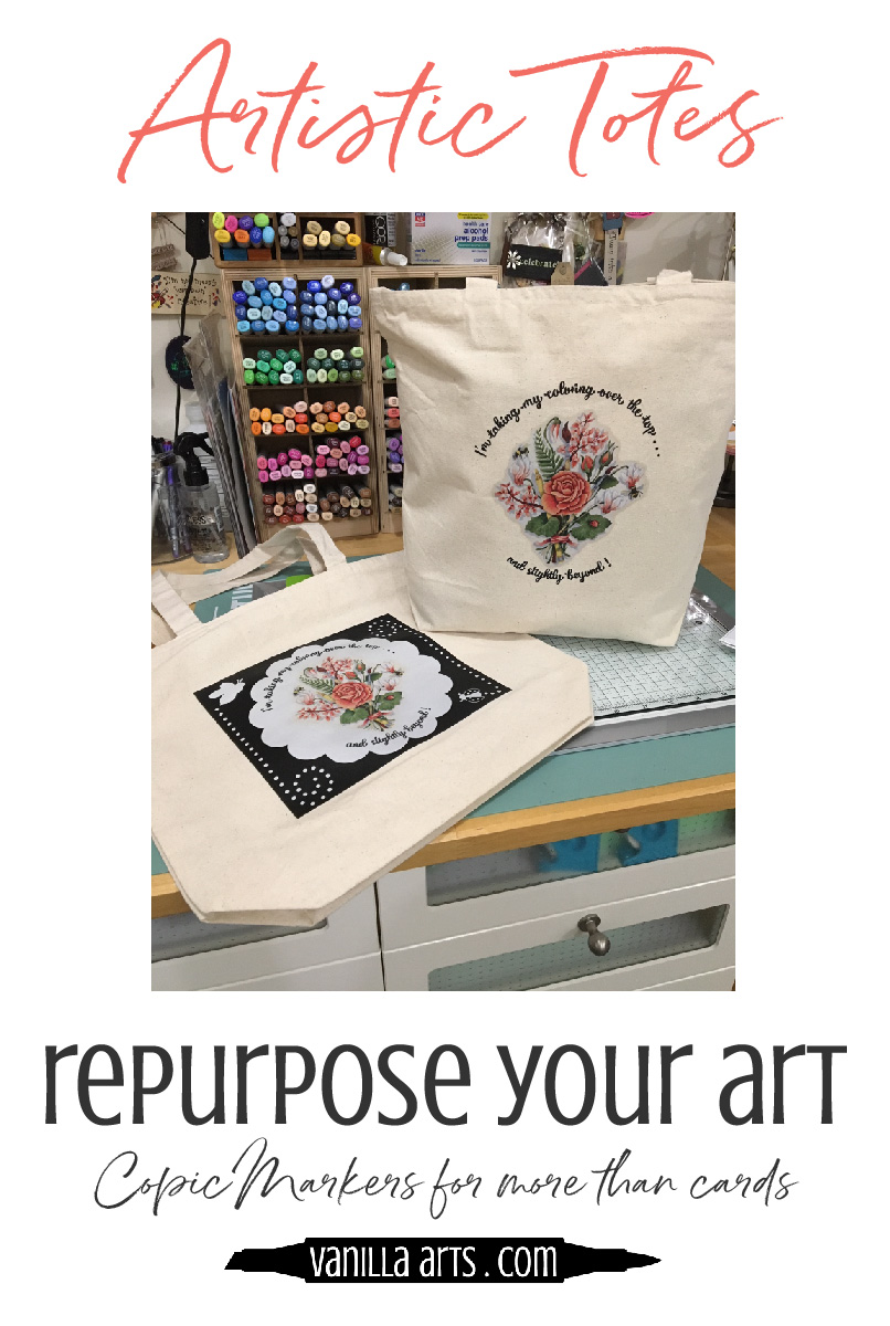 Use your Copic Marker or colored pencil coloring projects for more than cards! Make this classic tote bag with help from Kathy FS.   VanillaArts.com   #copicmarker #coloredpencil #realisticcoloring
