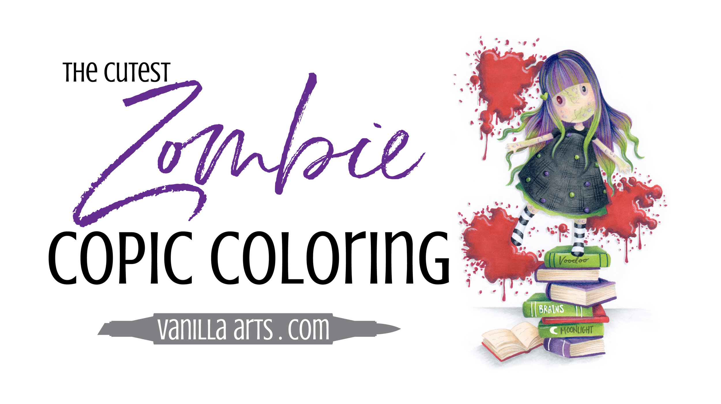 "FREE Copic Marker demonstration video. Learn to color creepy skin and hair alternatives with Copics and colored pencils. Project uses Santoro London's Gorjuss ""New Heights"" stamp. 