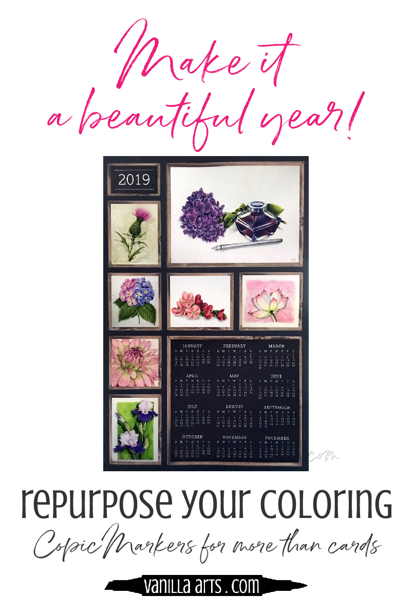 Use your Copic Marker or colored pencil coloring projects for more than cards! Celebrate your artwork all year long with a Copic Calendar project from Kathy, our digital project wizard! | VanillaArts.com | #copicmarker #coloredpencil #realisticcoloring