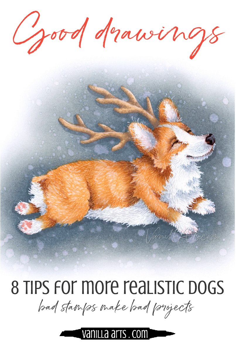 Do your dogs look like generic mutts? Do you want to capture a better likeness of the dog you love? 8 tips for whimsical yet realistic dog breeds using Copic Marker and colored pencil. | VanillaArts.com | #copic #coloredpencil #coloringtips #adultcoloring #howtocolor