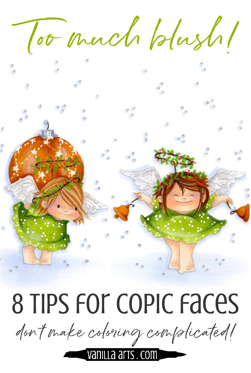 Don't make coloring harder than it has to be. 8 tips for cute and friendly faces using Copic Marker and colored pencil. | VanillaArts.com | #copic #coloredpencil #coloringtips #adultcoloring #howtocolor