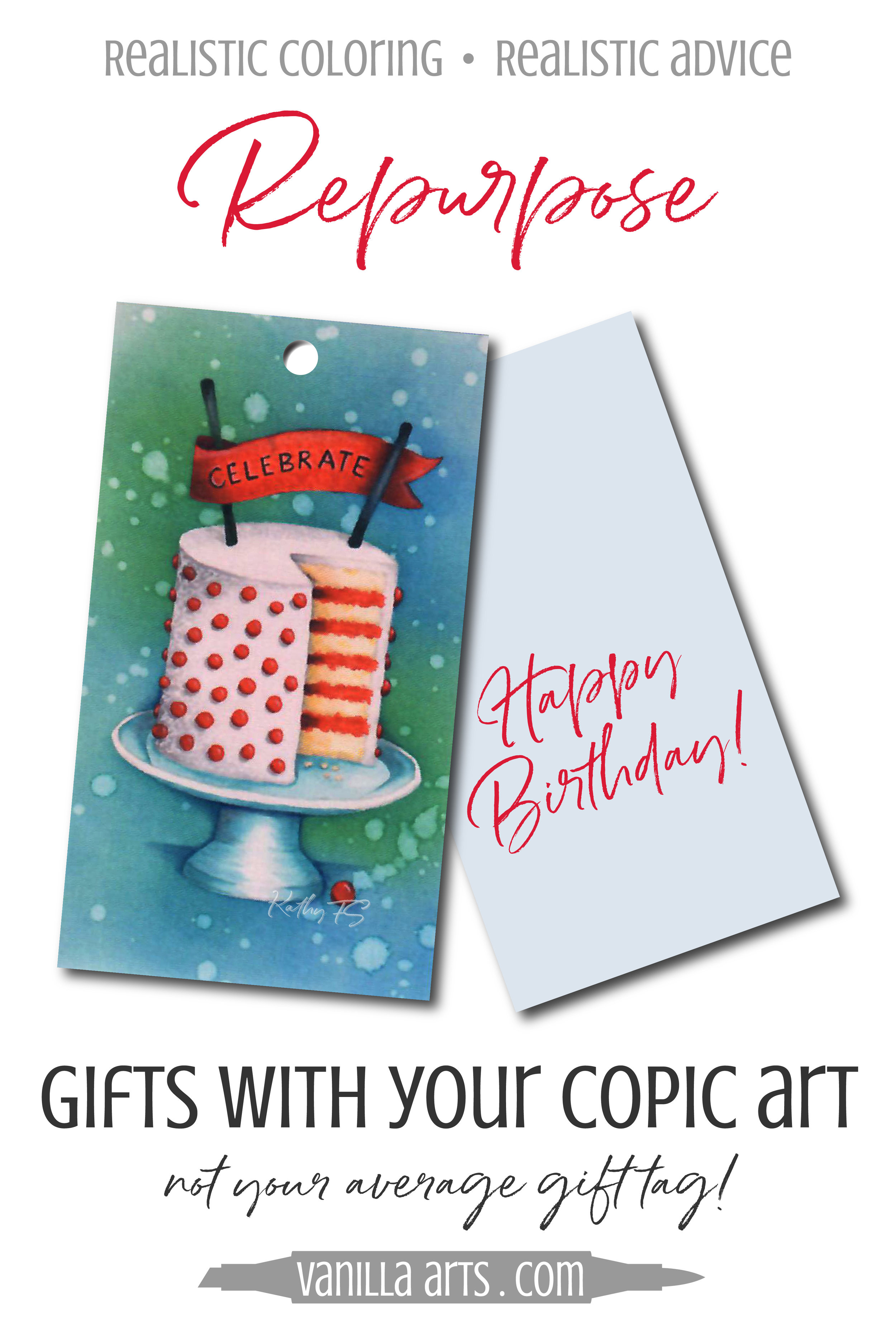 Professionally printed gift tags not only save time but they preserve your project long beyond the lifespan of Copic Marker ink. Copic is not lightfast! Preserve your coloring with this fun project from Kathy, our digital project wizard! | VanillaArts.com | #copicmarker #coloredpencil #realisticcoloring