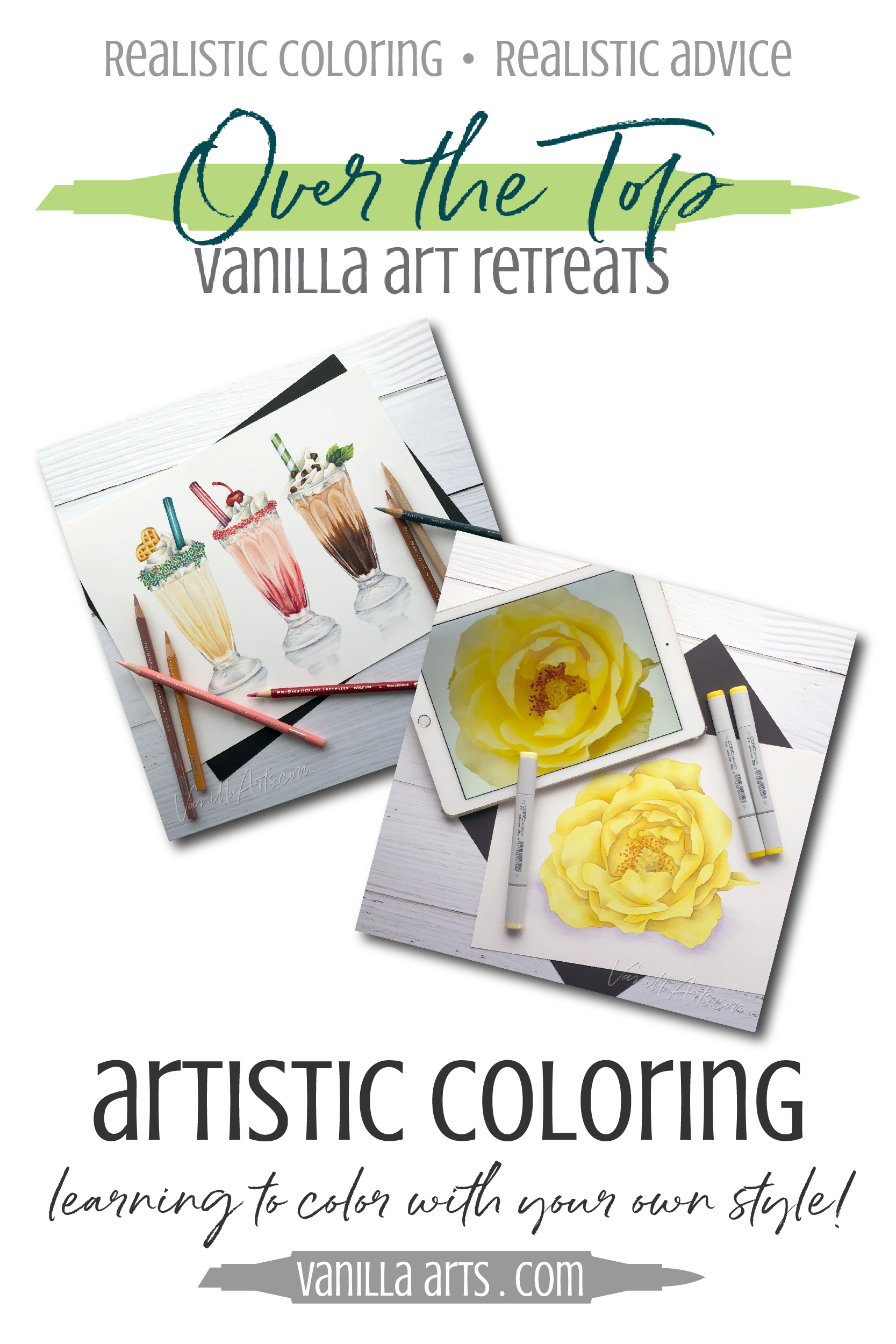 Learn to color with your own unique style using Copic Markers and Prismacolor Colored pencils. Intermediate to advanced level lessons at the Over the Top Copic Artist's Retreat by VanillaArts.com | #adultcoloring #copicmarkers #realisticcoloring