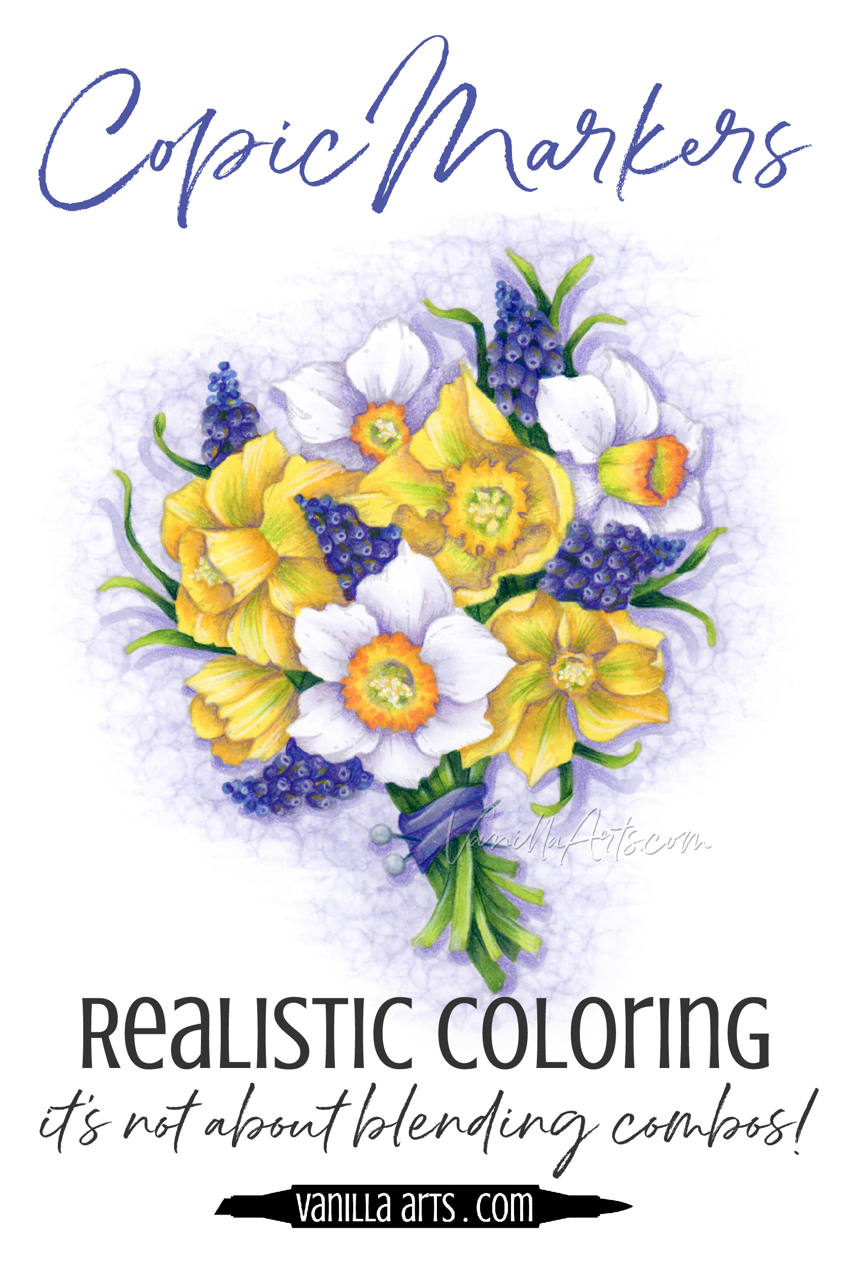 Do you dream about coloring realistic botanicals with Copic Markers? Research your flowers BEFORE you start coloring for added depth, dimension and realism. | VanillaArts.com | #copic #adultcoloring #howtocolor