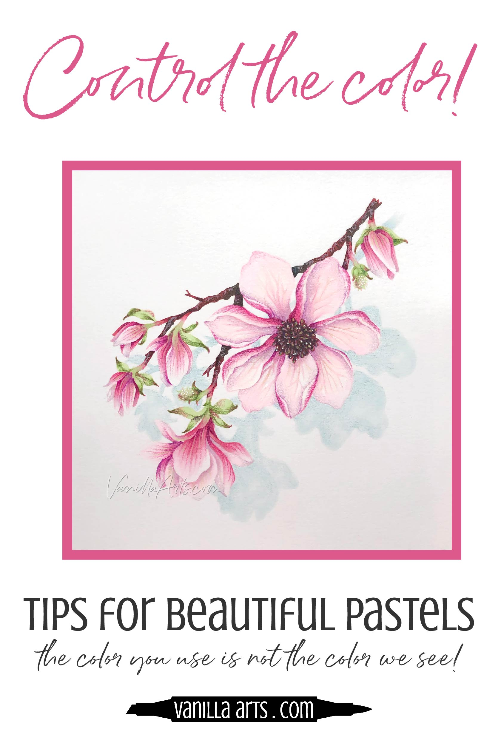 Do your soft and delicate colors get wilder and bolder as you color? 5 tips for controlling pale pastel colors with Copic Markers and colored pencils. Improve your adult coloring. | VanillaArts.com | #copic #adultcoloring #howtocolor