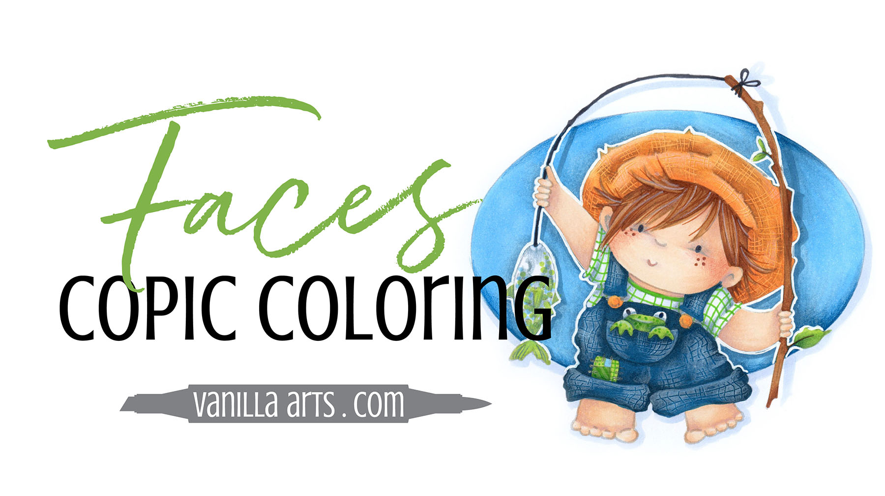 Learn how to color expressive faces with Amy's simple beginner Copic Marker technique. Free demonstration video. | VanillaArts.com | #copic #coloredpencil #howtocolor